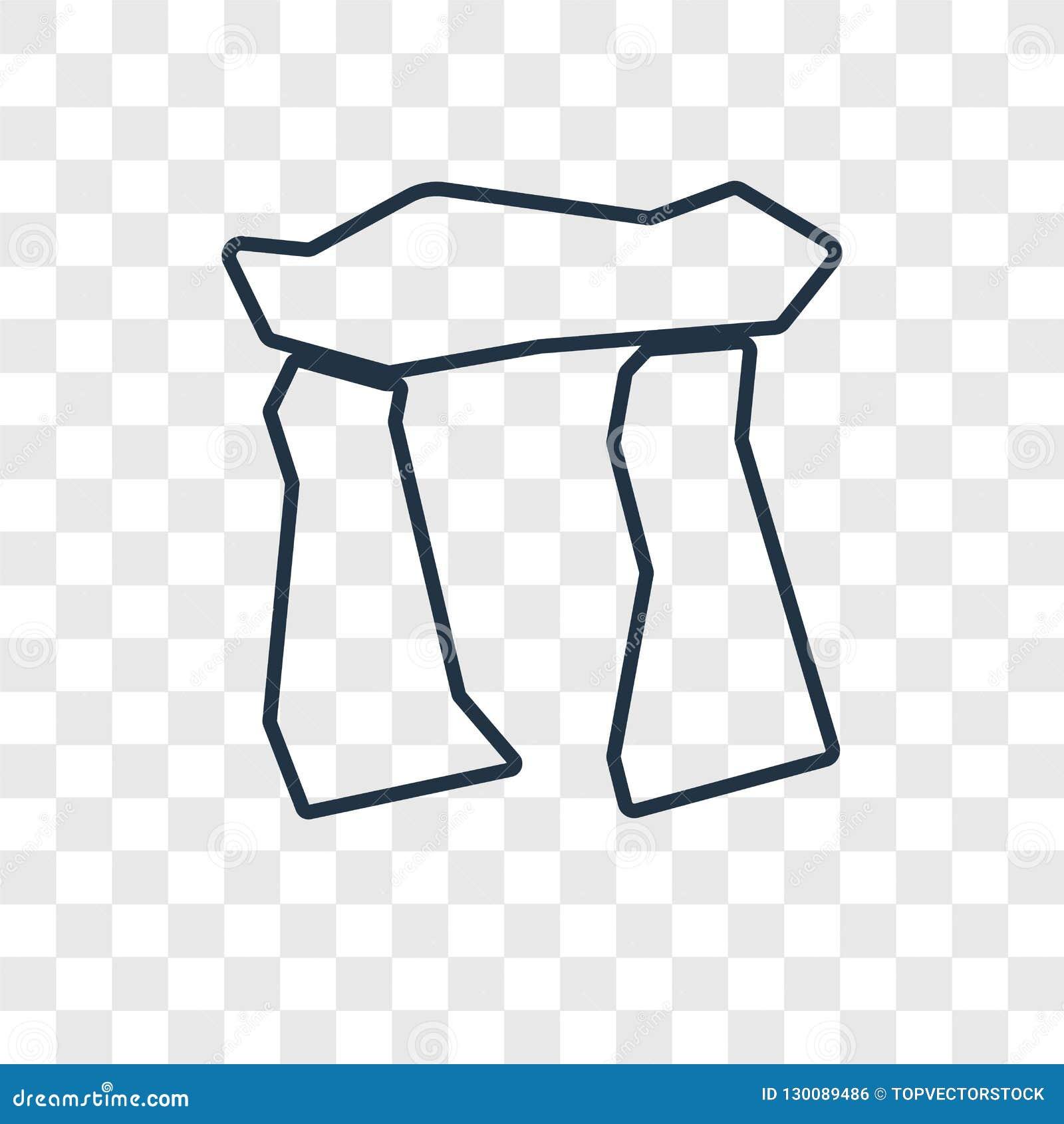 Icono linear del vector del concepto de Stonehenge aislado en vagos transparentes