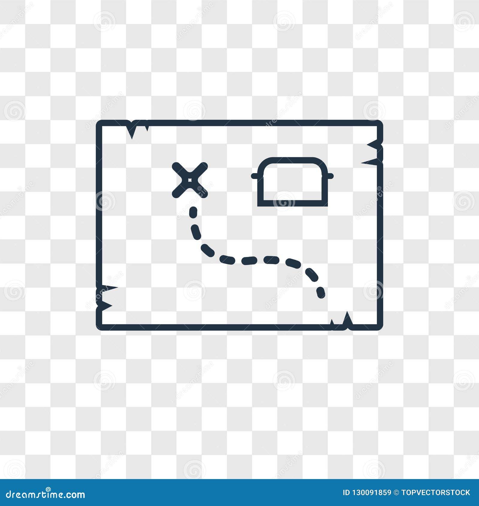 Icono linear del vector del concepto del mapa del tesoro aislado en transparente