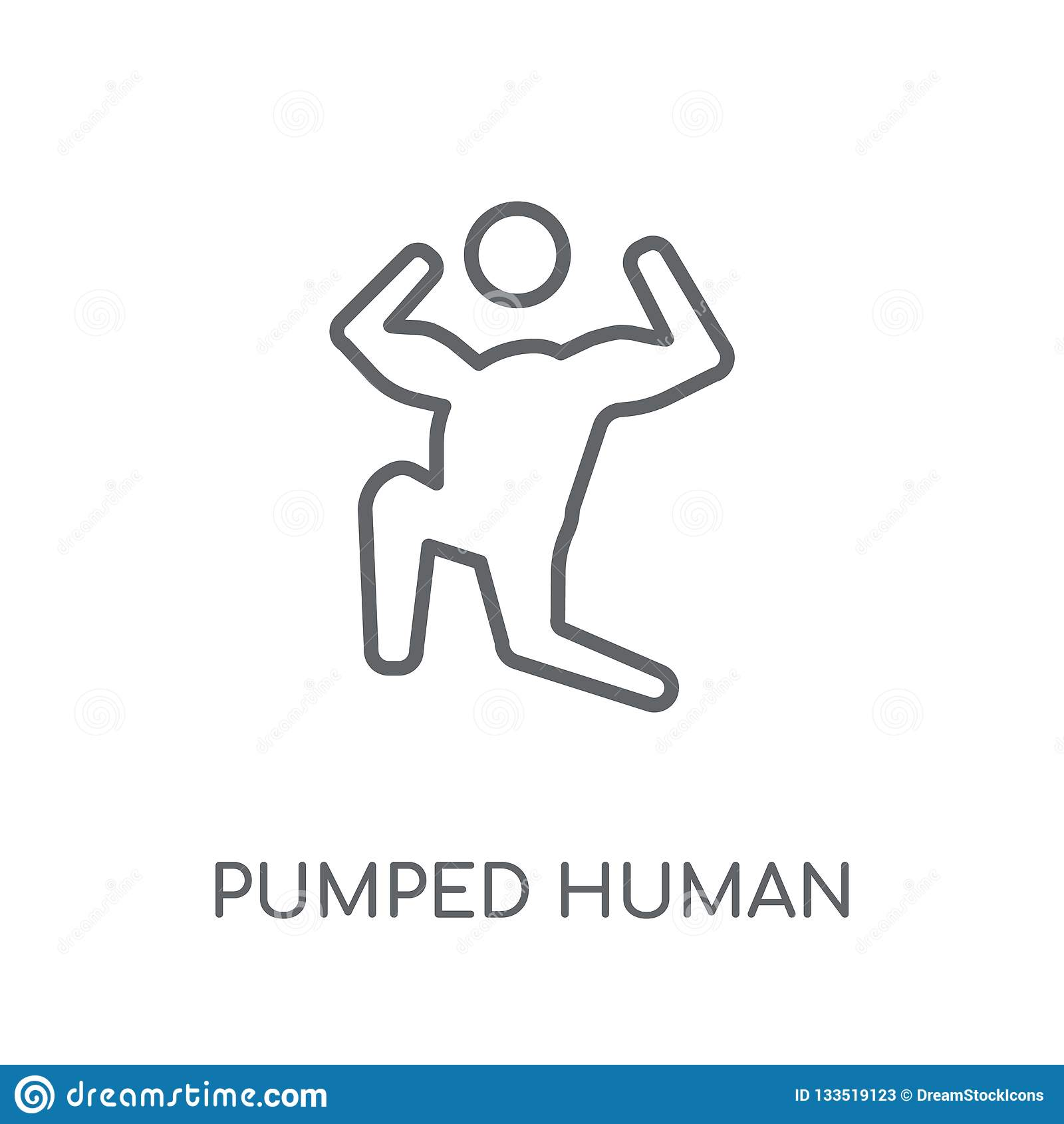 Icono linear humano bombeado El esquema moderno bombeó conce humano del logotipo