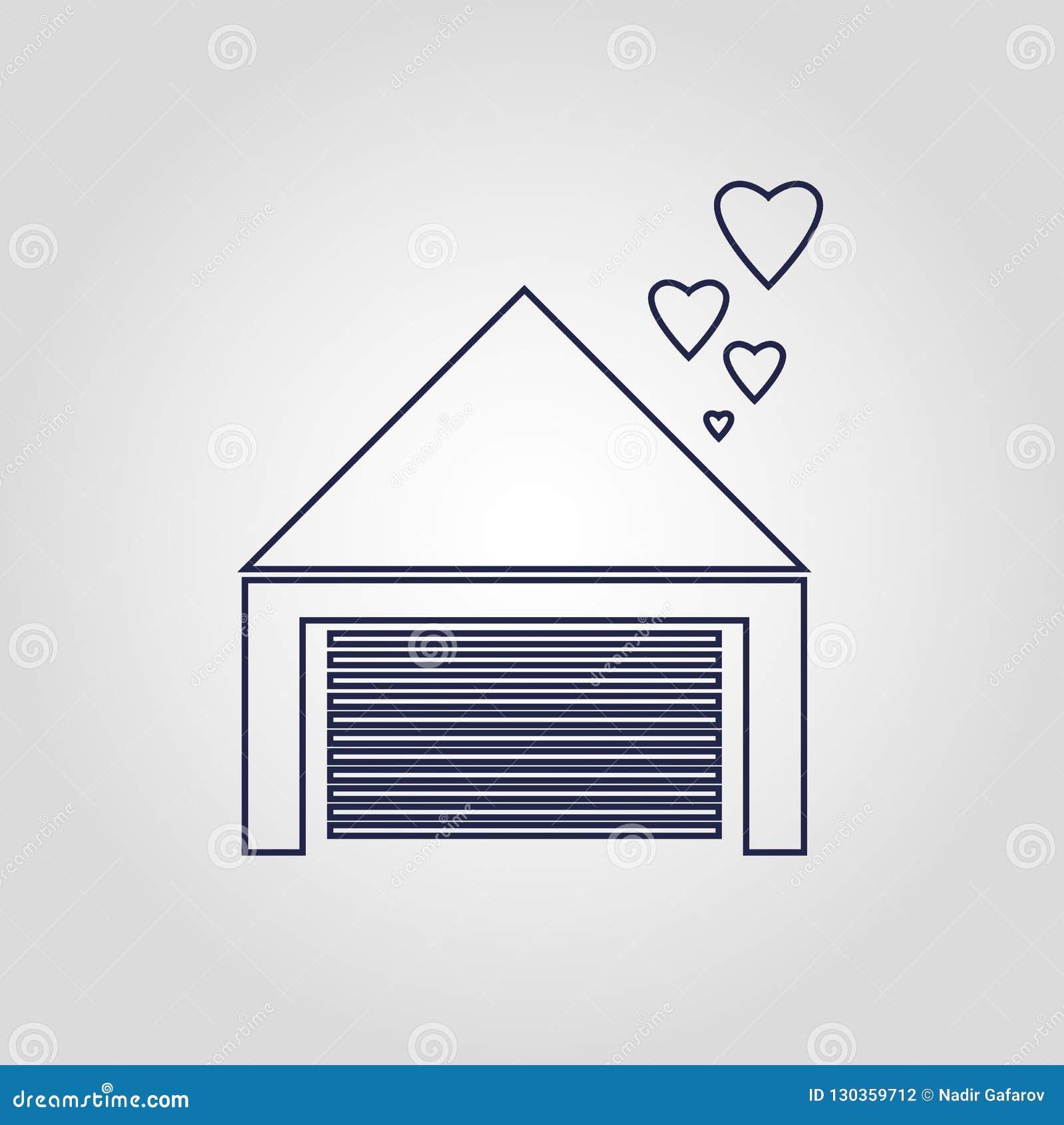 Icono linear plano aislado icono del vector del hogar del amor en la seguridad blanca del fondo