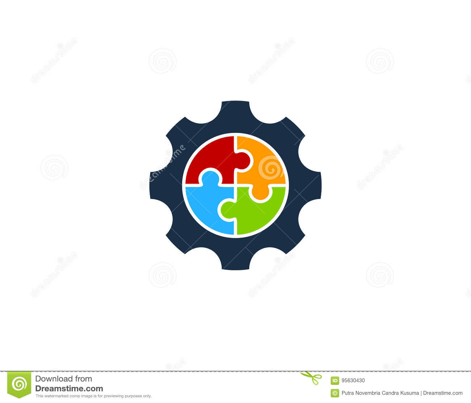 Icono Logo Design Element del engranaje del rompecabezas