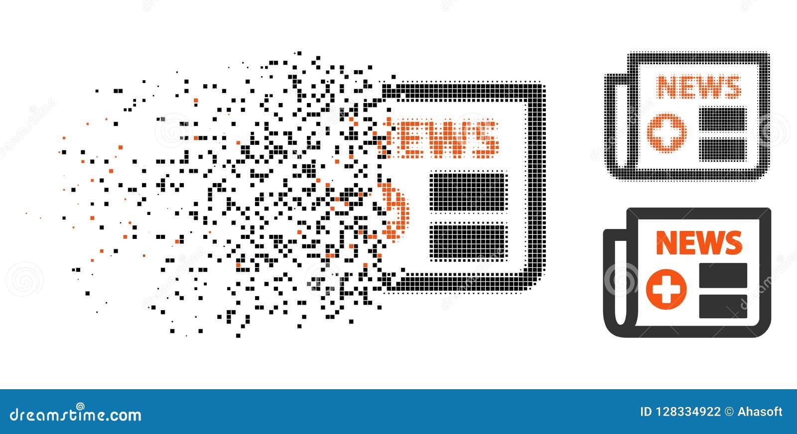 Icono médico de semitono punteado hecho fragmentos del periódico