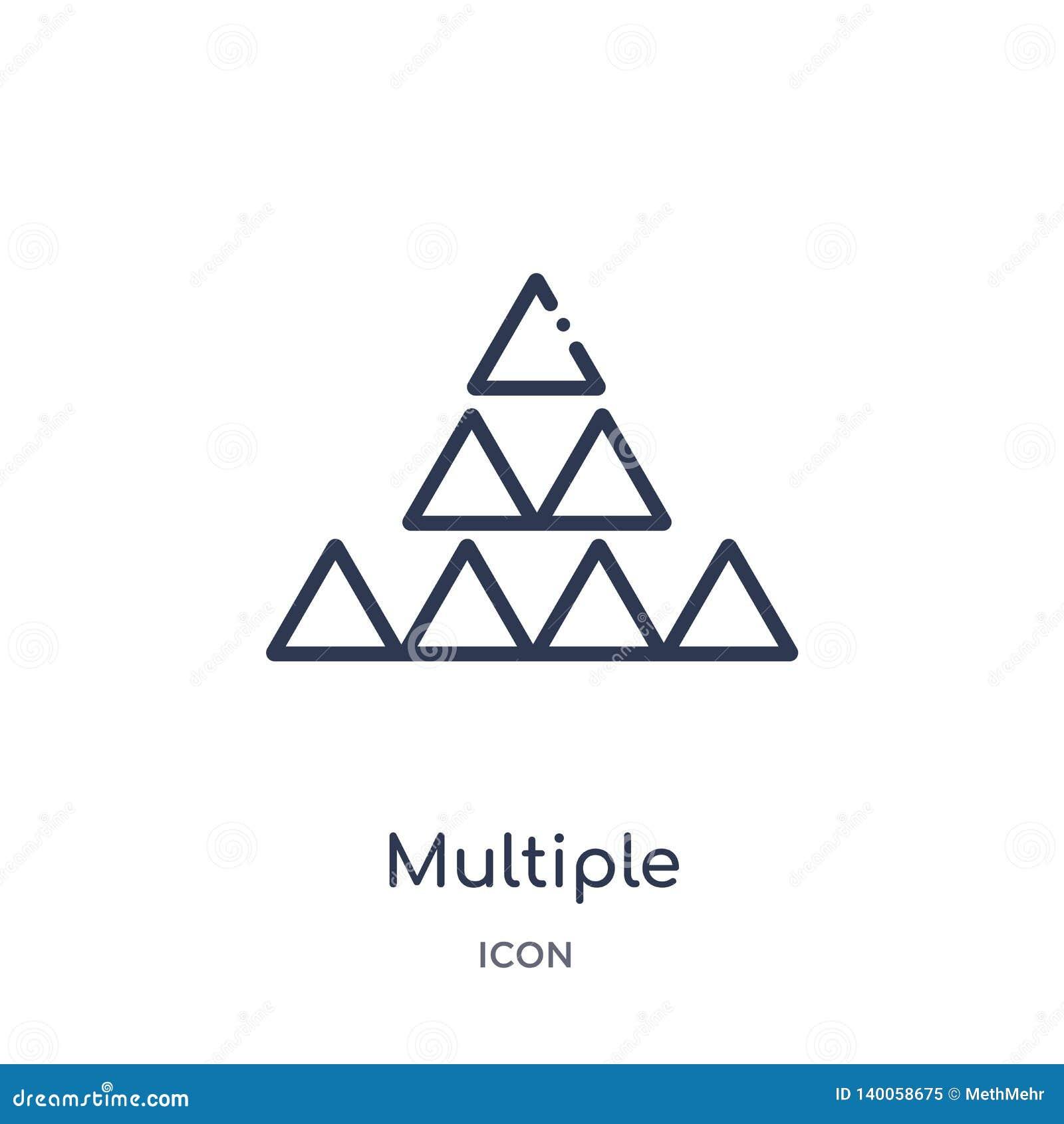 Icono múltiple linear del triángulo de los triángulos de la colección del esquema de la geometría Línea fina icono múltiple del t