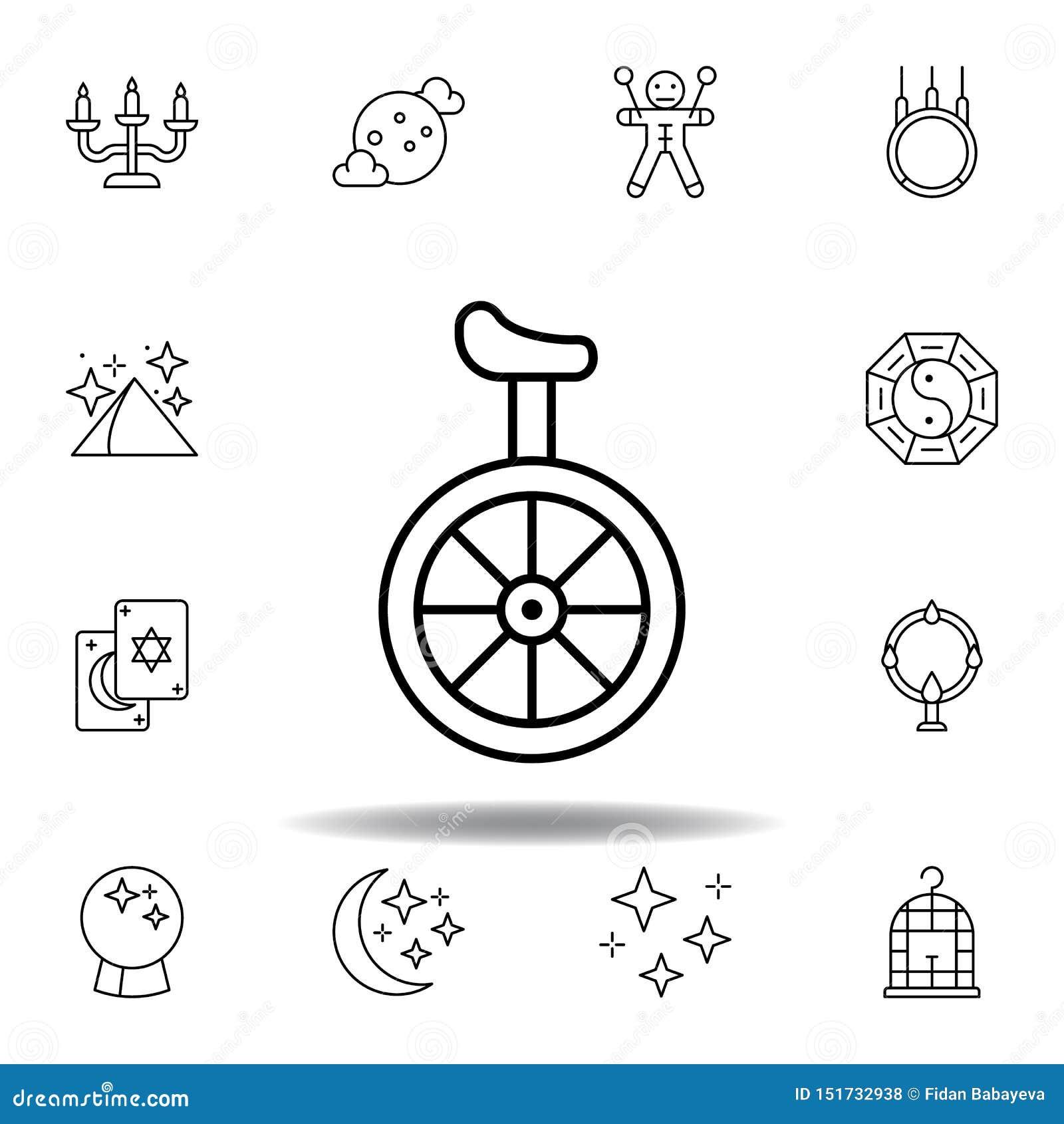 Icono m?gico del esquema del transporte del unicycle elementos de la línea mágica icono del ejemplo las muestras, símbolos se pue
