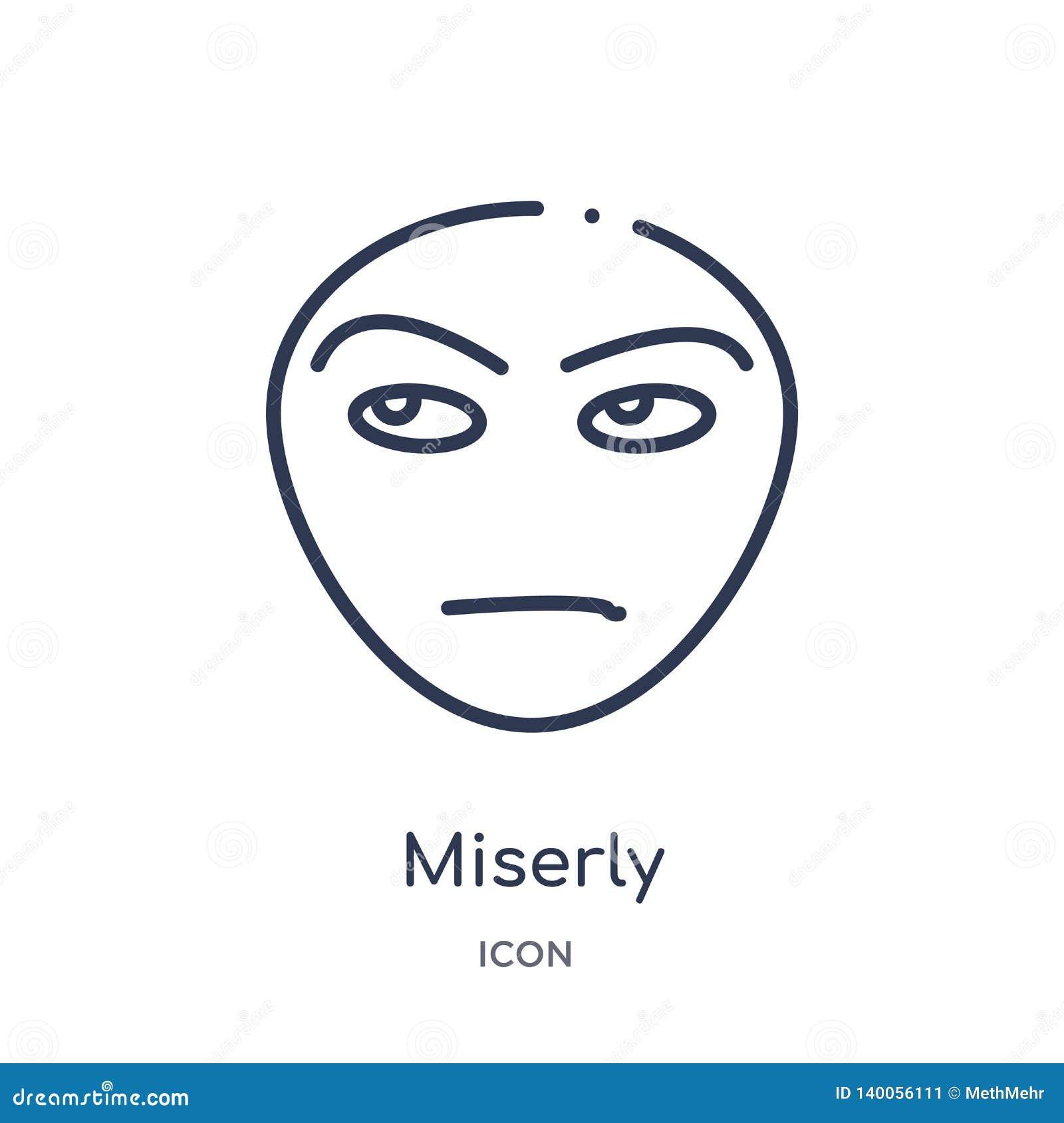 Icono mezquino linear de la colección del esquema de las emociones Línea fina vector mezquino aislado en el fondo blanco de moda