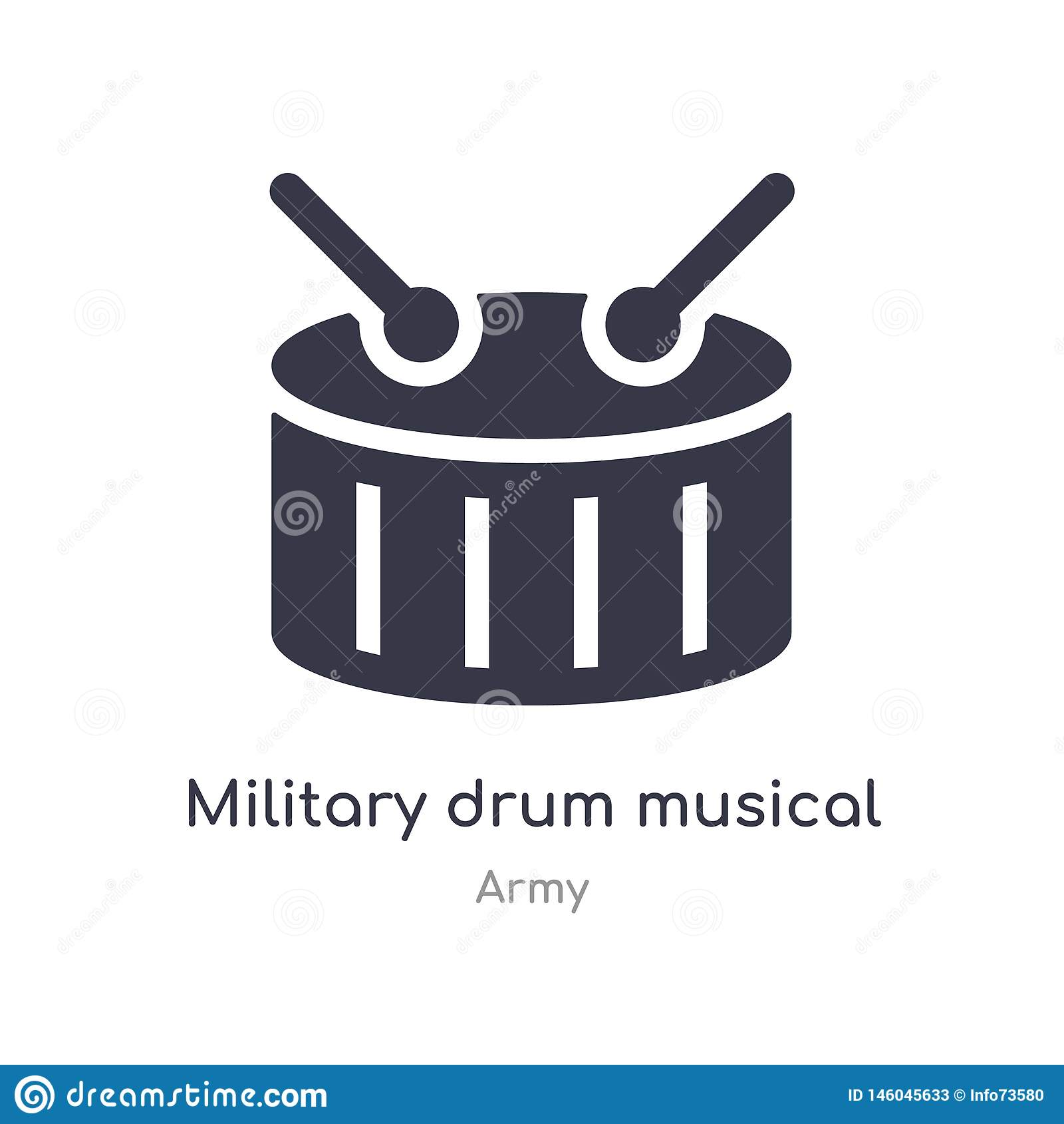 Icono militar del instrumento musical del tambor ejemplo militar aislado del vector del icono del instrumento musical del tambor