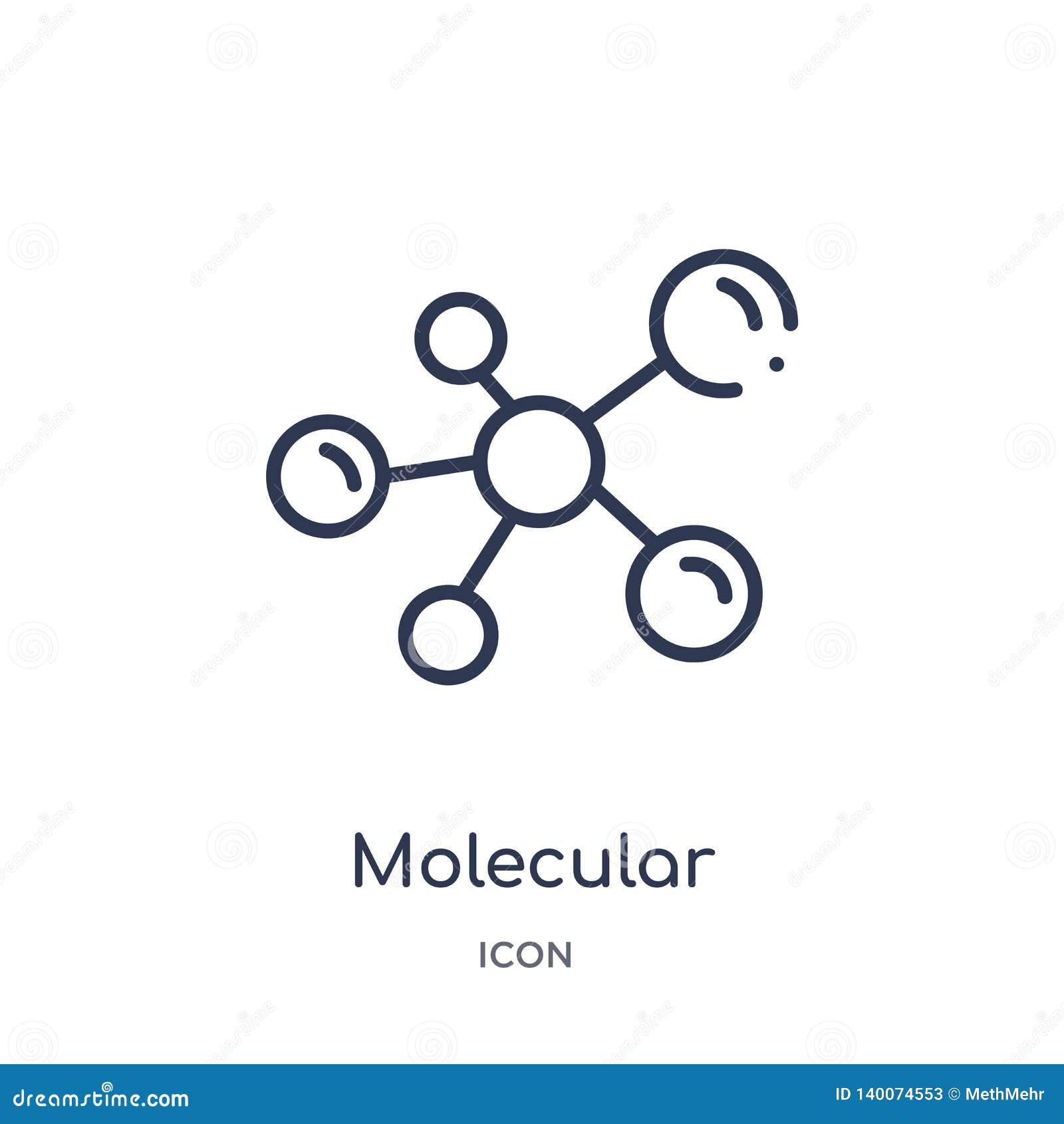 Icono molecular linear de la configuración de la colección médica del esquema Línea fina icono molecular de la configuración aisl