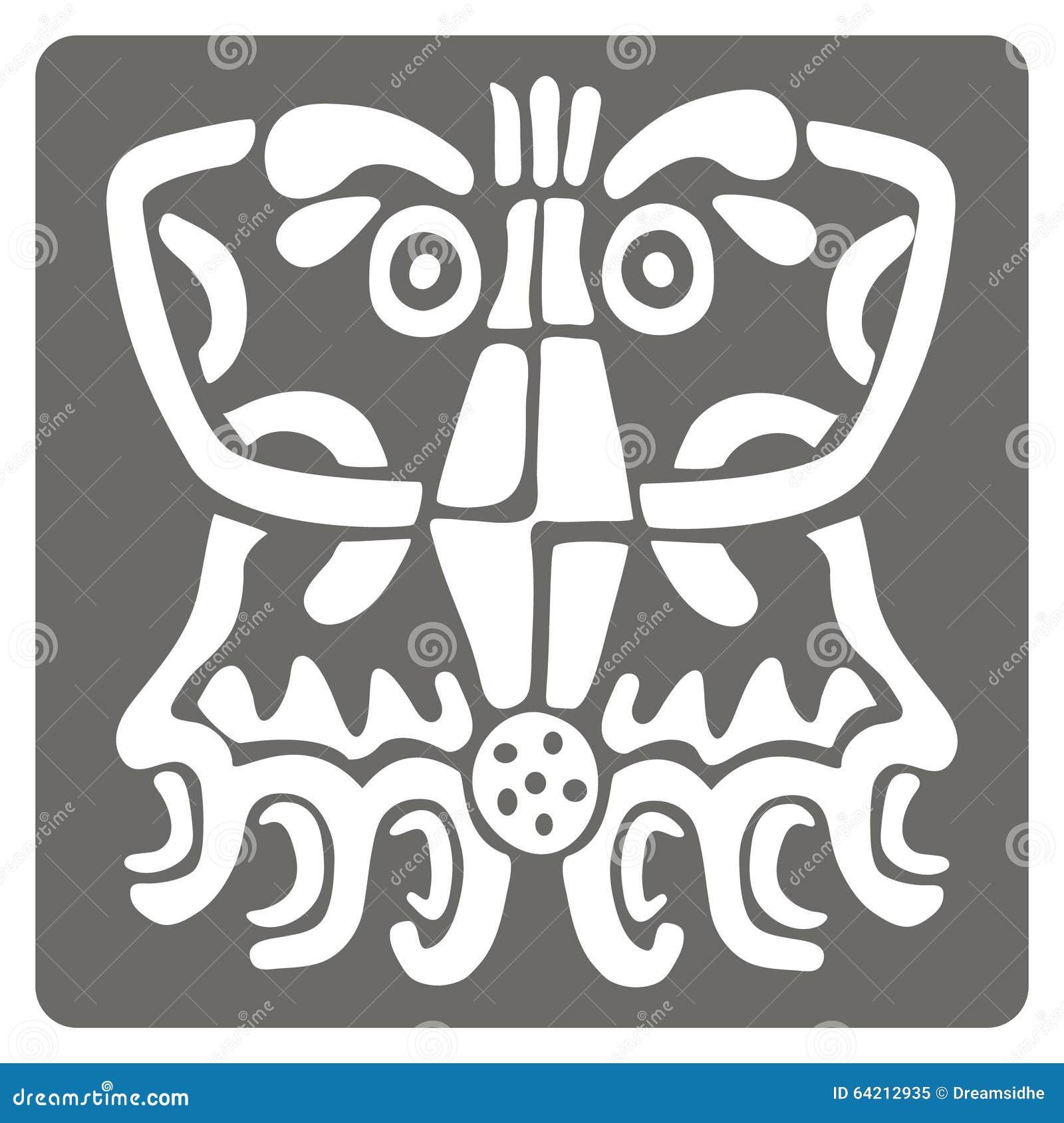 Icono monocromático con arte americano de los indios y ornamentos étnicos