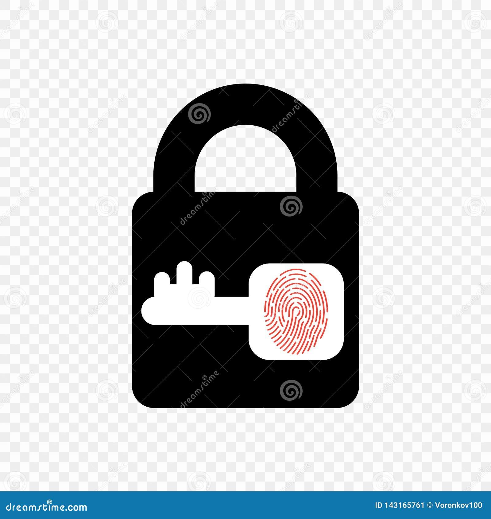 Icono monocromático de la cerradura del vector con llave y la huella dactilar Elemento en fondo transparente