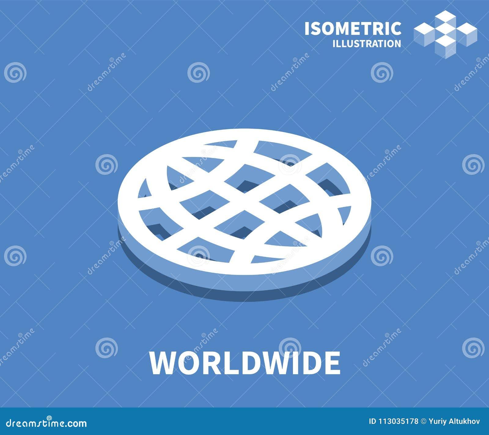 Icono mundial, ejemplo del vector en el estilo isométrico plano 3D