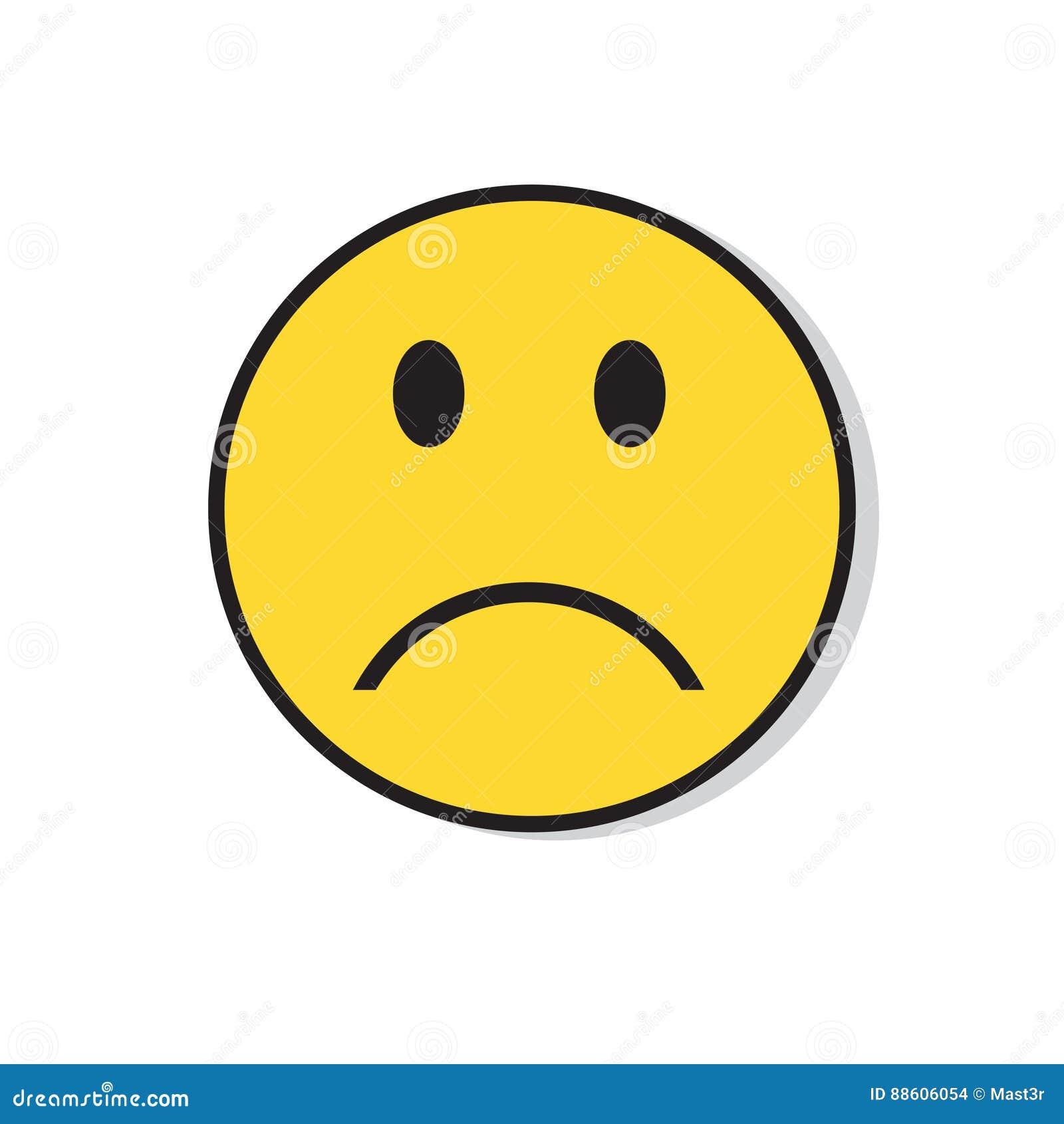 Icono negativo de la emoción de la gente de la cara triste amarilla
