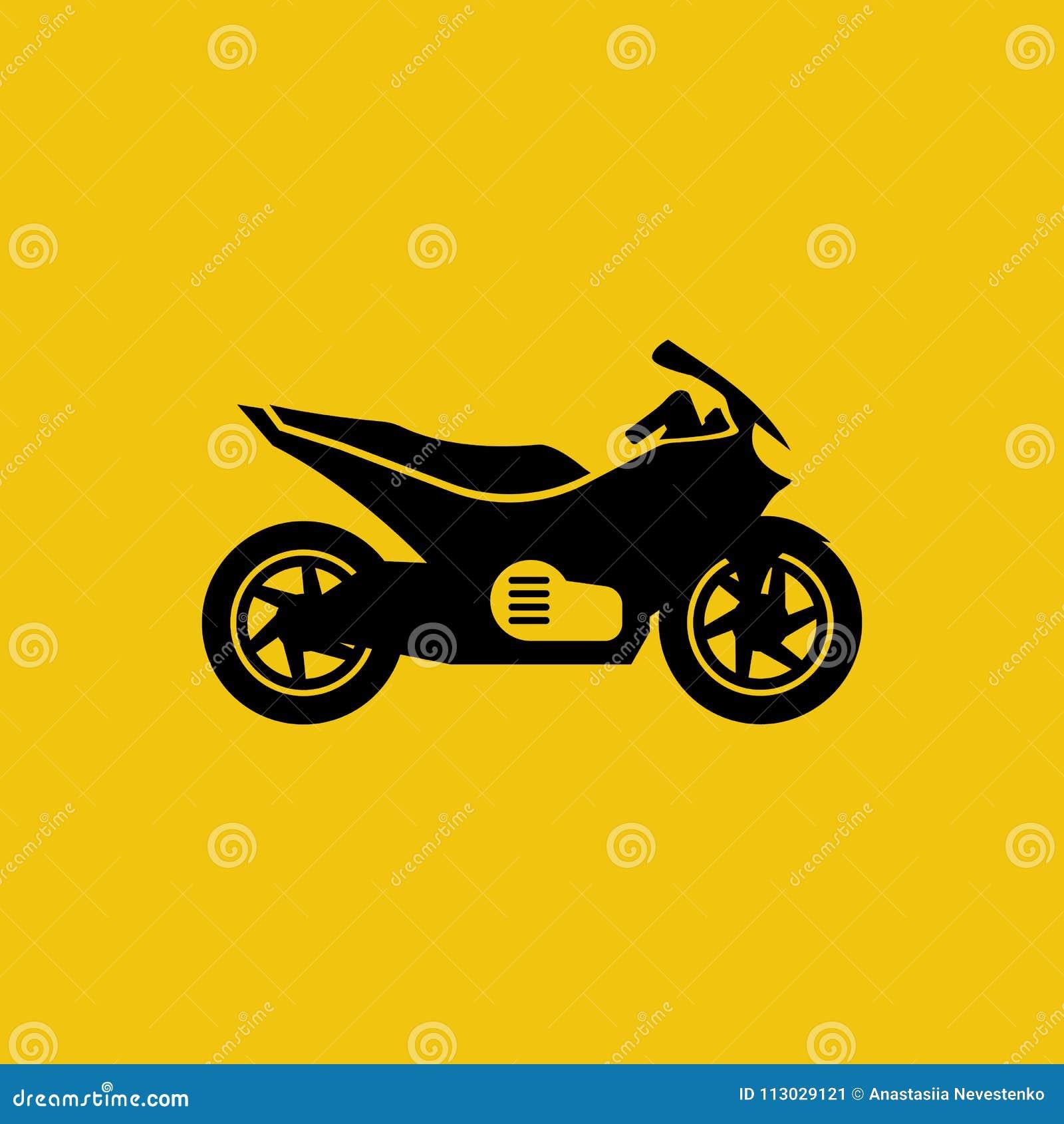 Icono negro de la motocicleta aislado en fondo amarillo