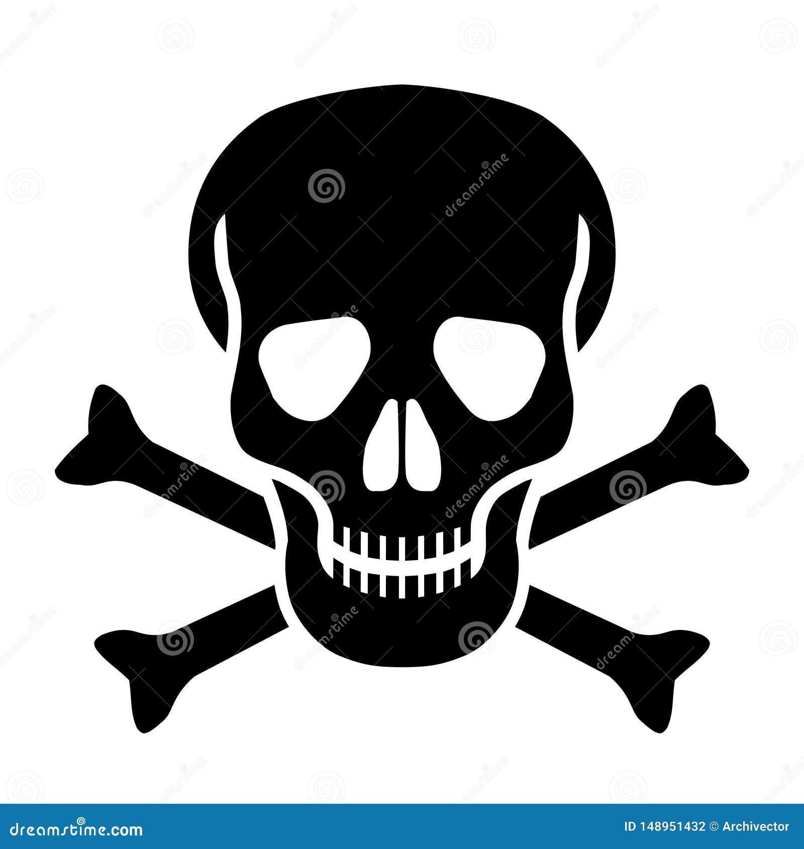 Icono negro del cr?neo y de huesos