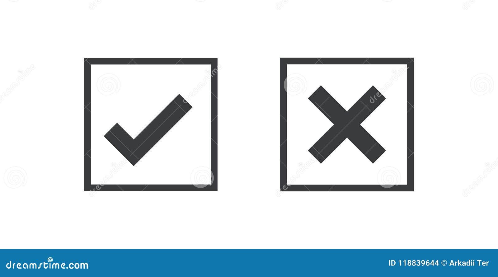 Icono negro rojo de la marca de verificación del icono aislado en fondo transparente Apruebe y cancele el símbolo para el proyect