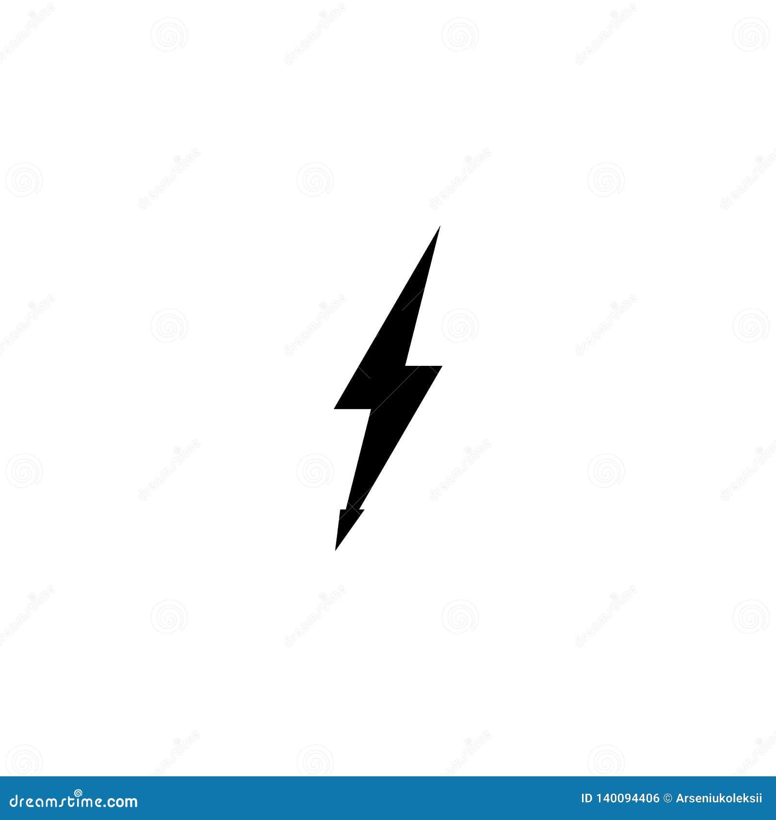 Icono negro simple del trueno Rayo y muestra de iluminación de destello