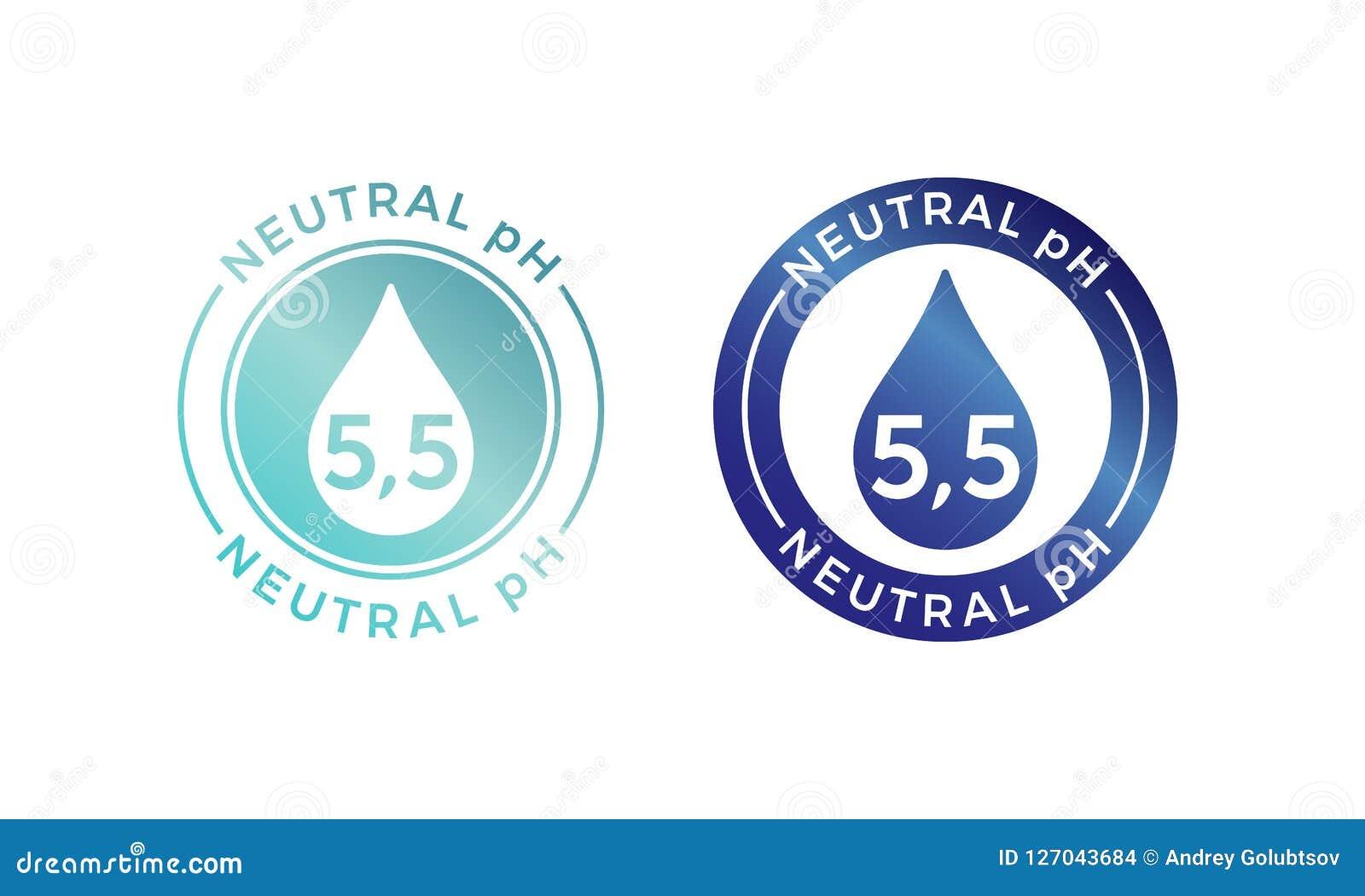 Icono neutral del logotipo de la balanza del pH para el champú o la crema