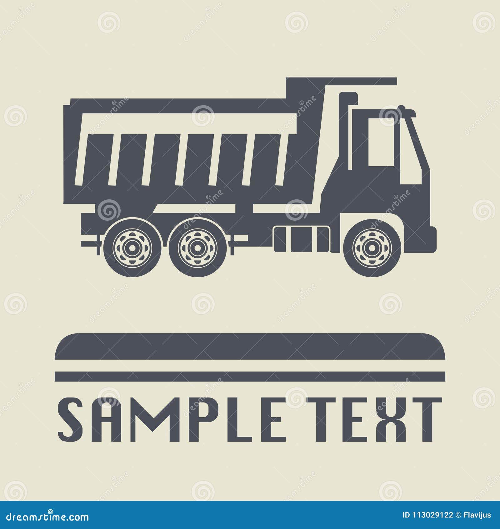 Icono o muestra, ejemplo del camión del vector