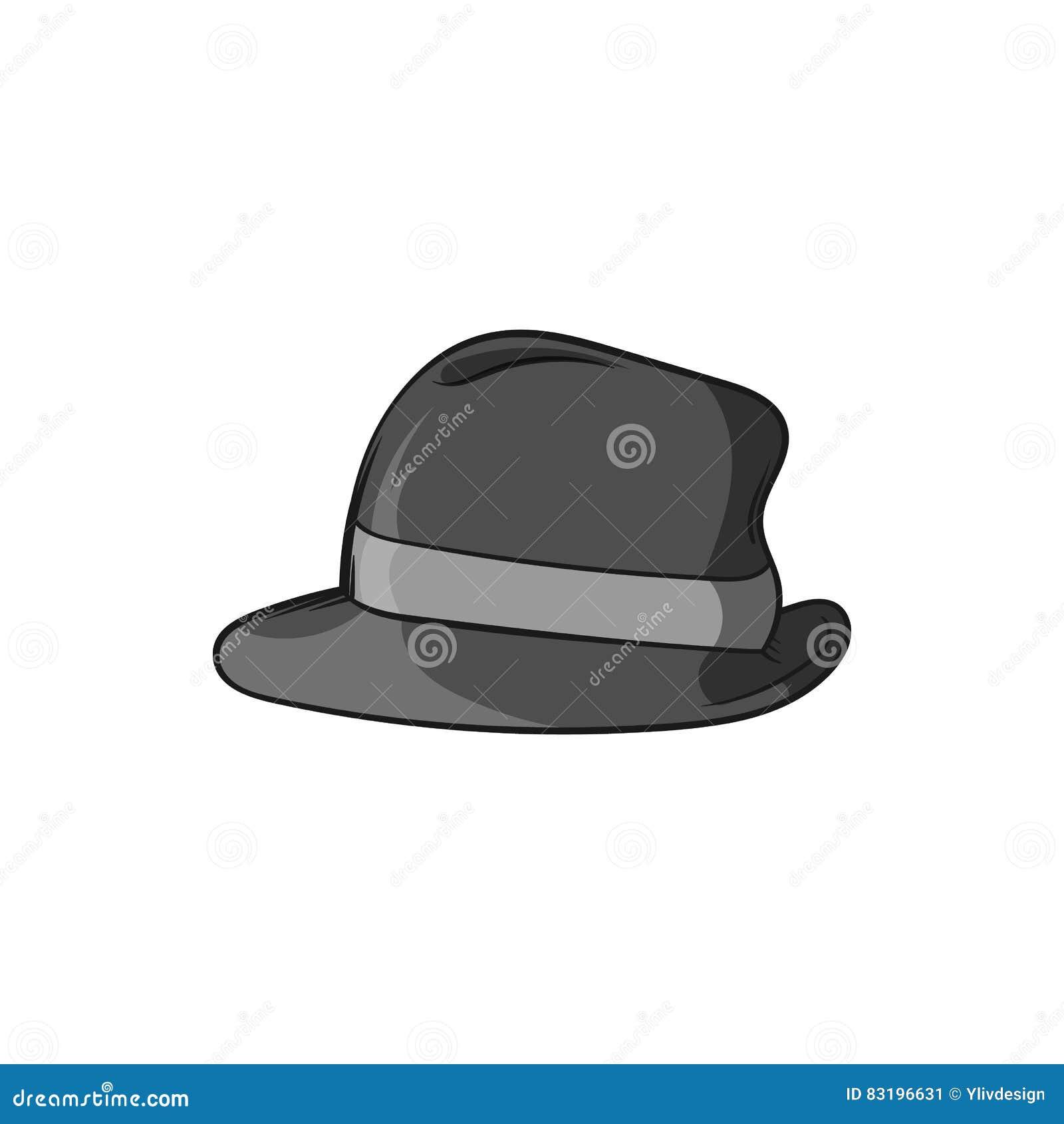 Icono para hombre del sombrero en estilo monocromático negro aislado en el  fondo blanco Ejemplo del vector del símbolo del tocado f84f2b7bb48