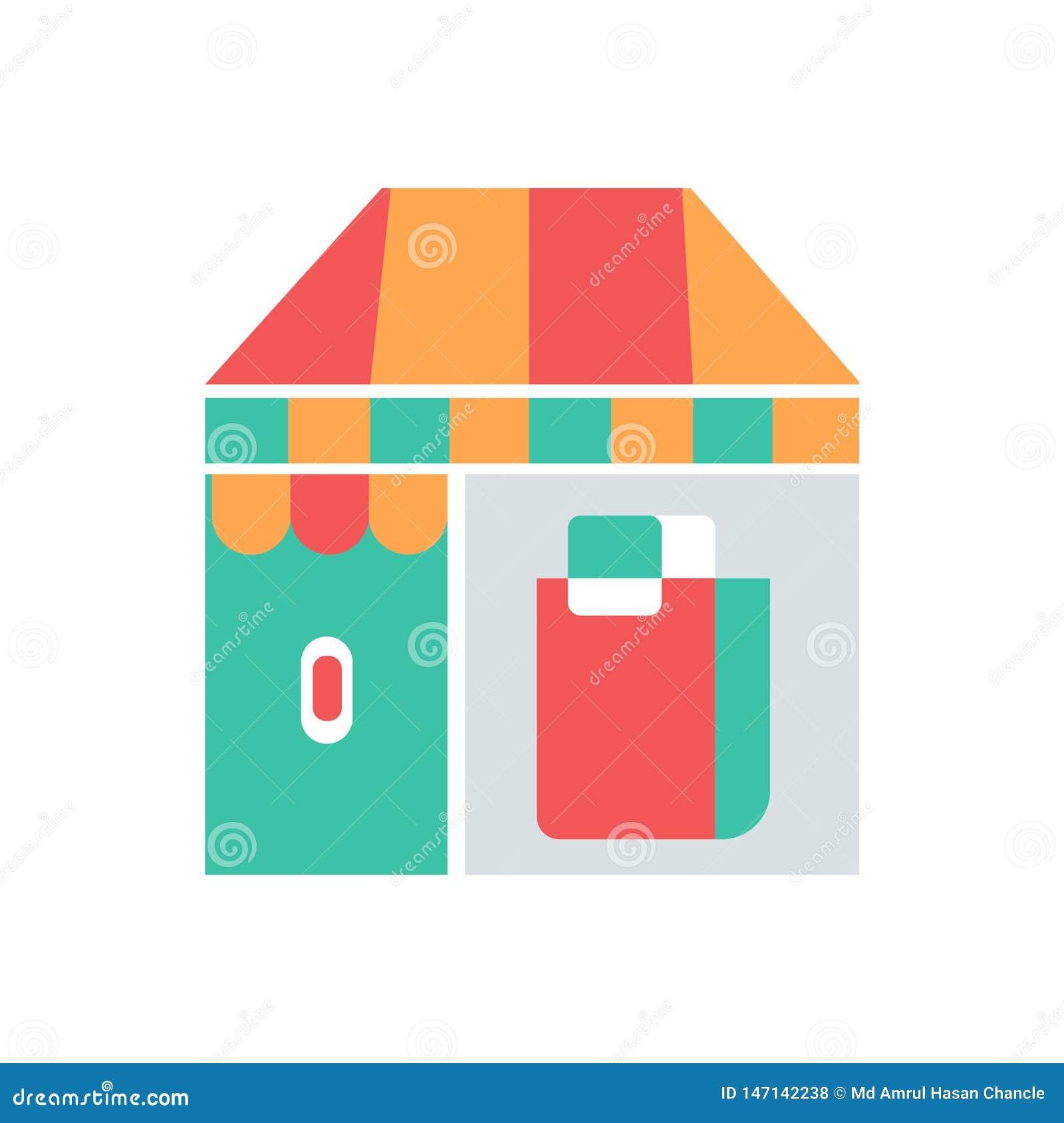 Icono perfecto de la tienda o del mercado tienda del vector con vector perfecto del ejemplo del icono del bolso de compras