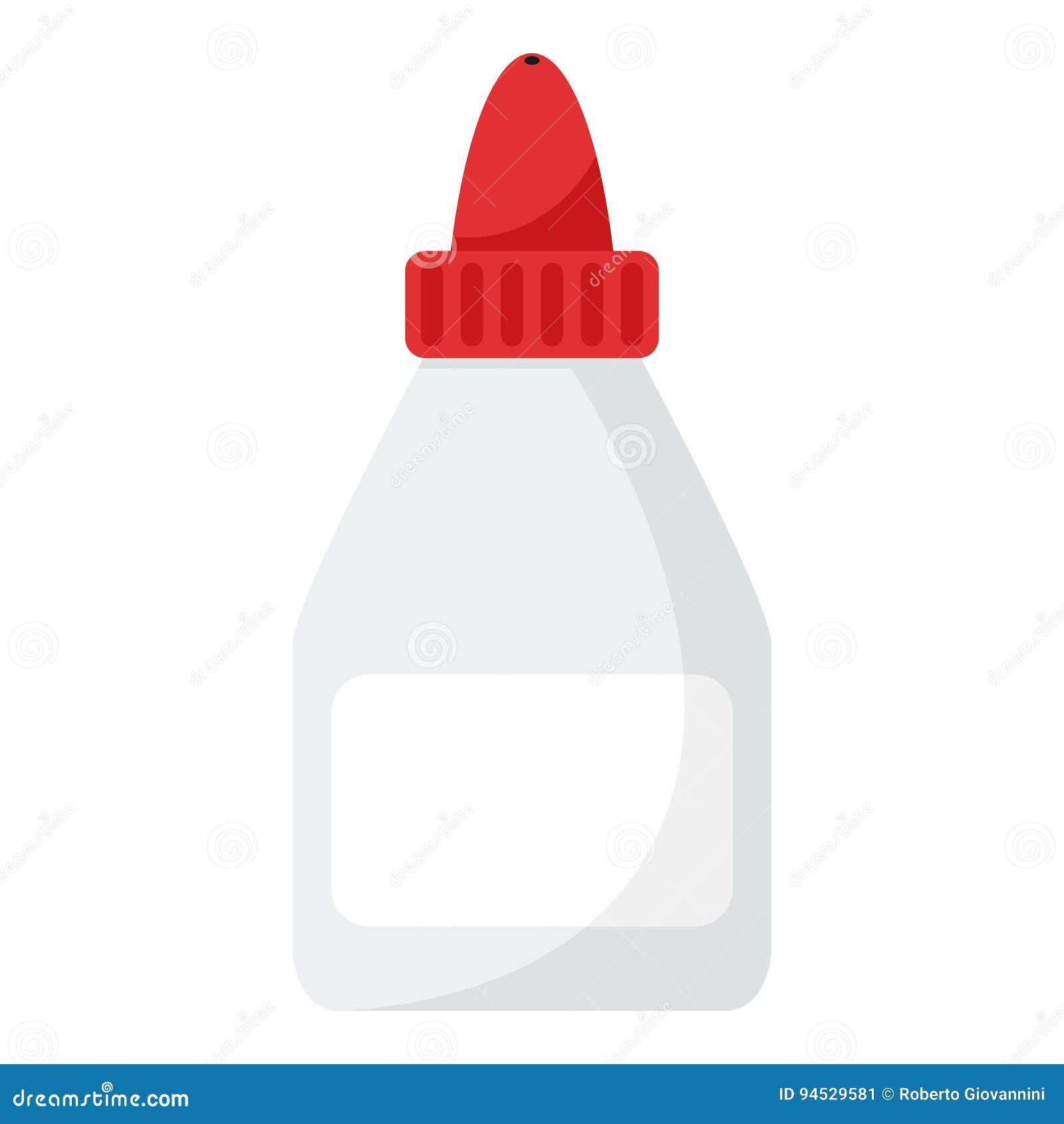 Icono plano de la botella del tubo del pegamento aislado en blanco