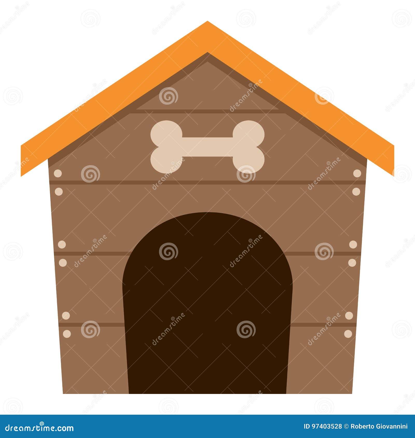 Icono plano de la casa de perro casero aislado en blanco