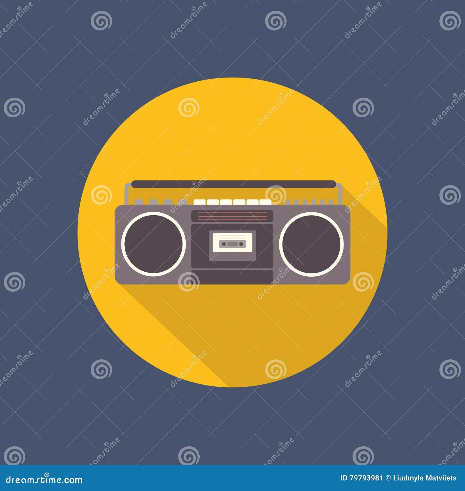 Icono plano de la grabadora en fondo oscuro Diseño retro