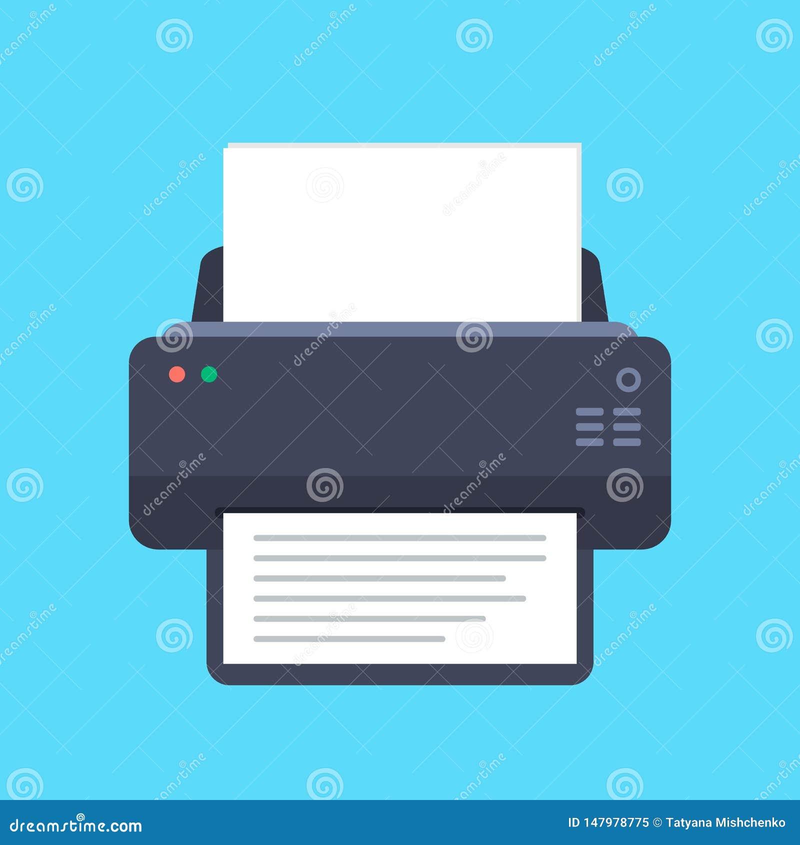 Icono plano de la impresora con la sombra larga Visi?n superior Ilustraci?n del vector