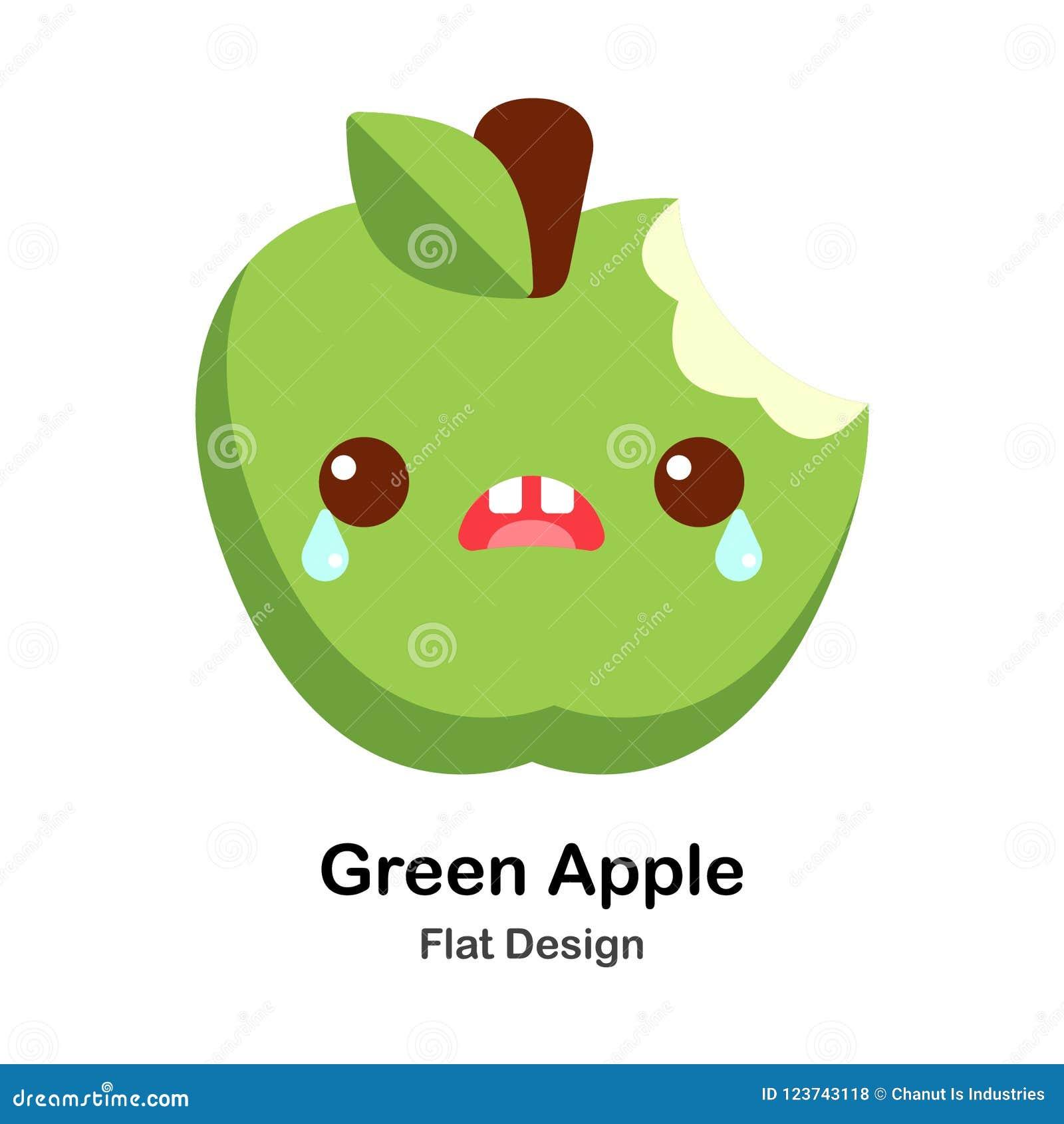 Icono plano de la manzana verde