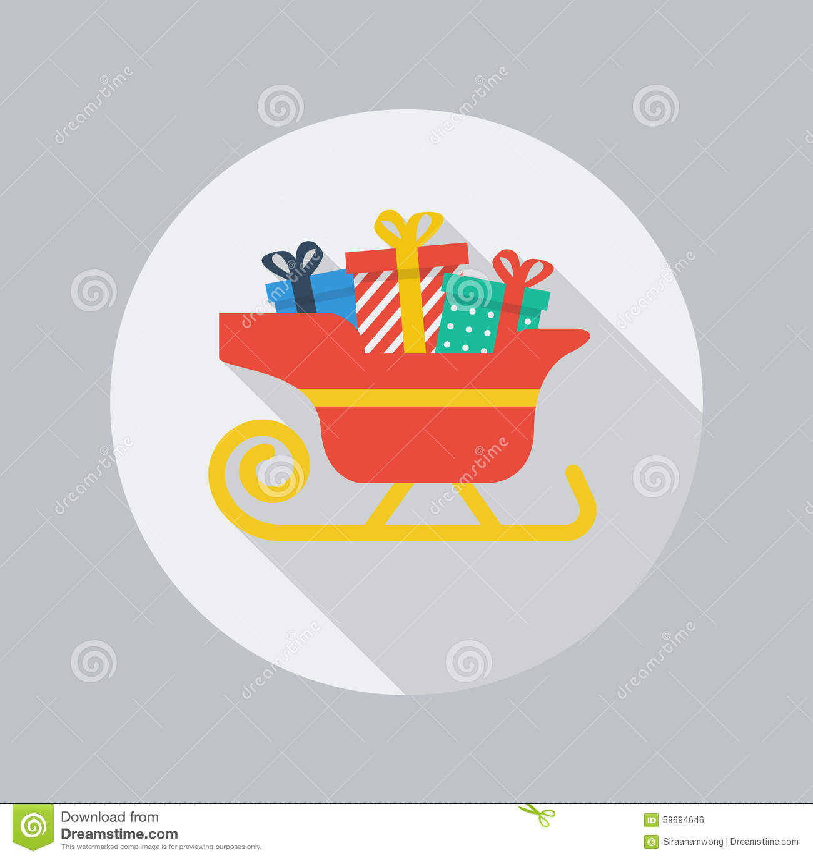 Icono plano de la Navidad Trineo de Papá Noel
