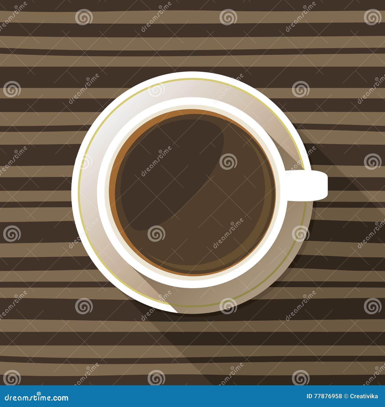 Icono Plano De La Opinión Superior De La Taza De Café Ilustración del Vector