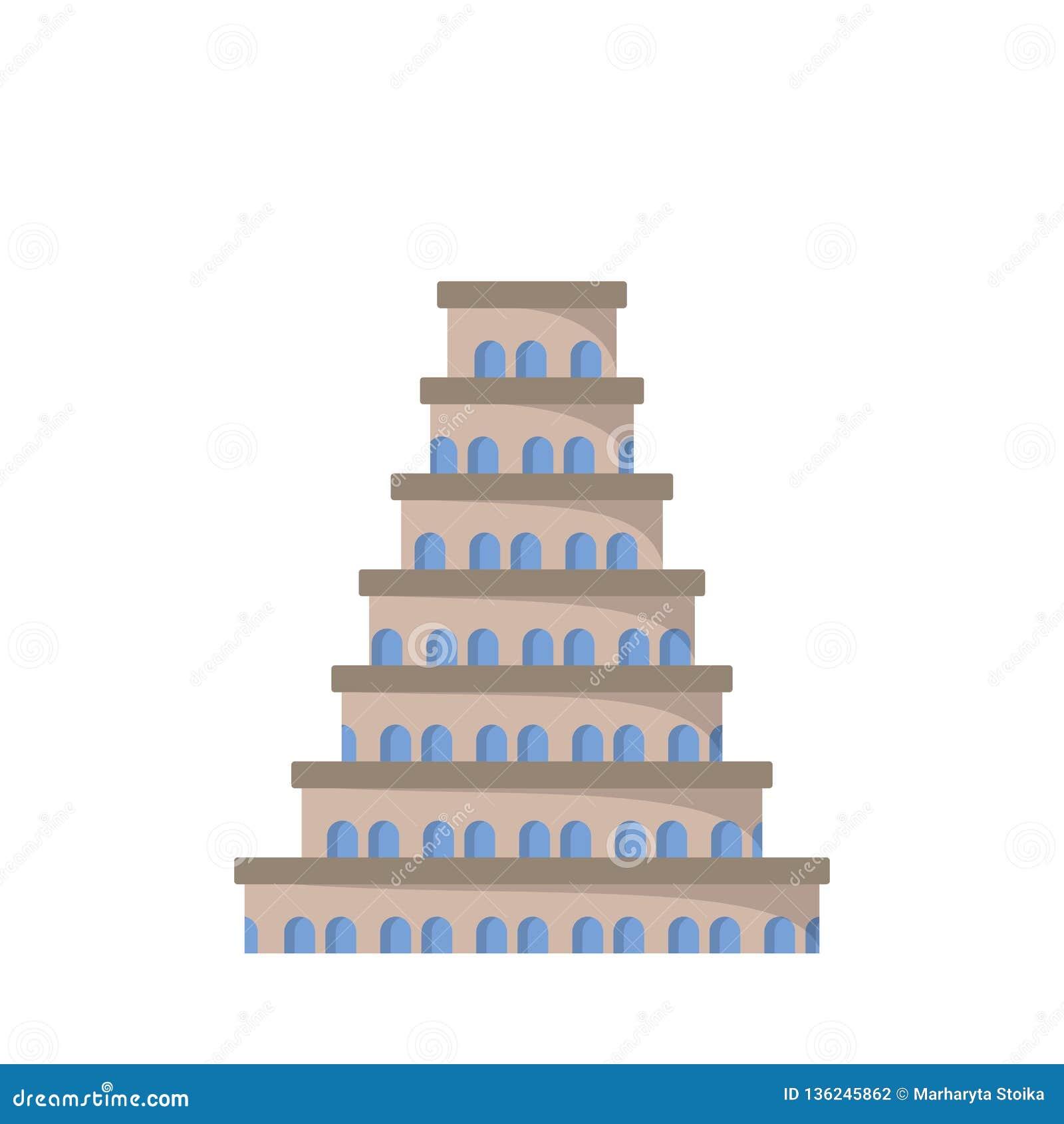 Icono plano de la torre de Babel