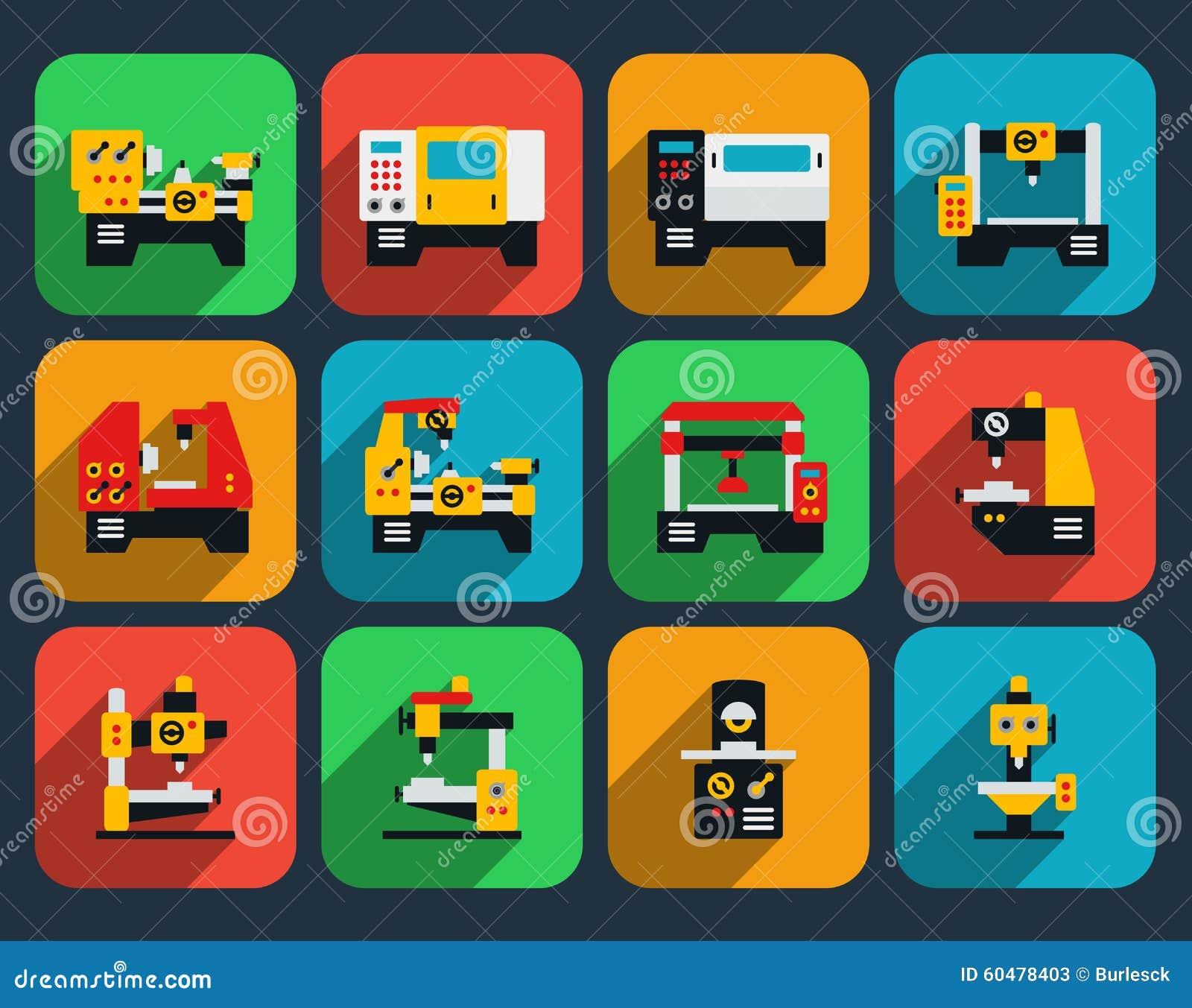 Icono plano de las máquinas-herramientas especiales