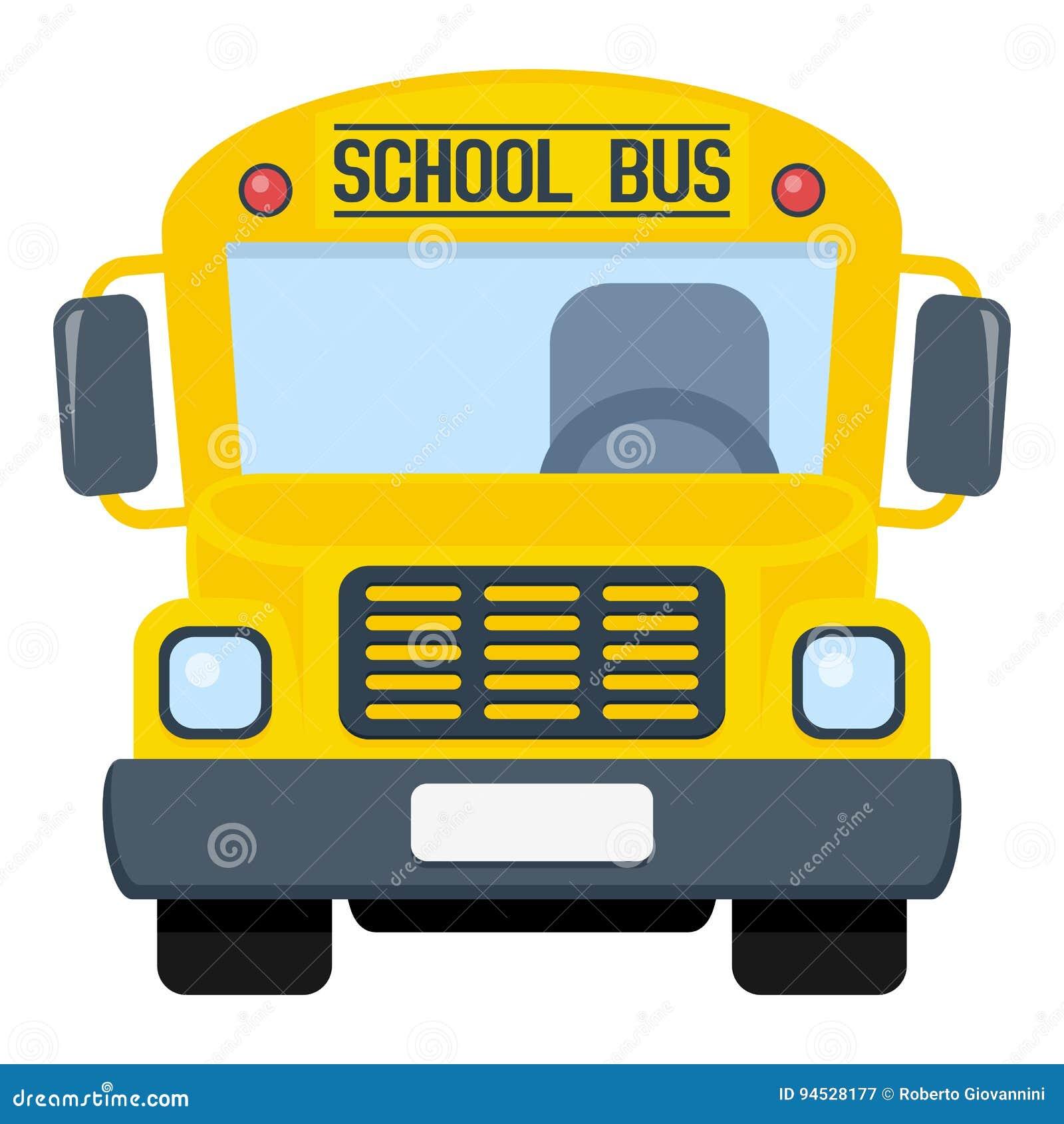 Icono plano del autobús escolar aislado en blanco
