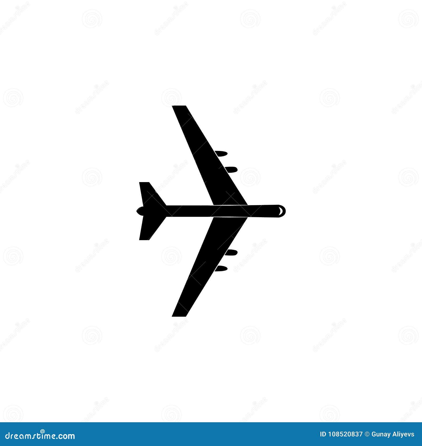 Icono plano del bombardeo Icono del elemento de los aviones militares Icono superior del diseño gráfico de la calidad Muestras de