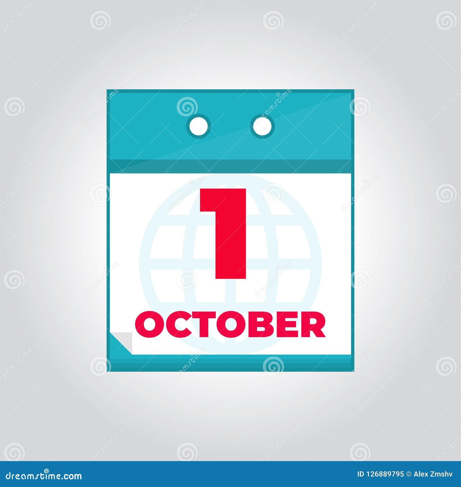 Calendario Diario.Icono Plano Del Calendario Diario Del Vector Del Primer 1 De