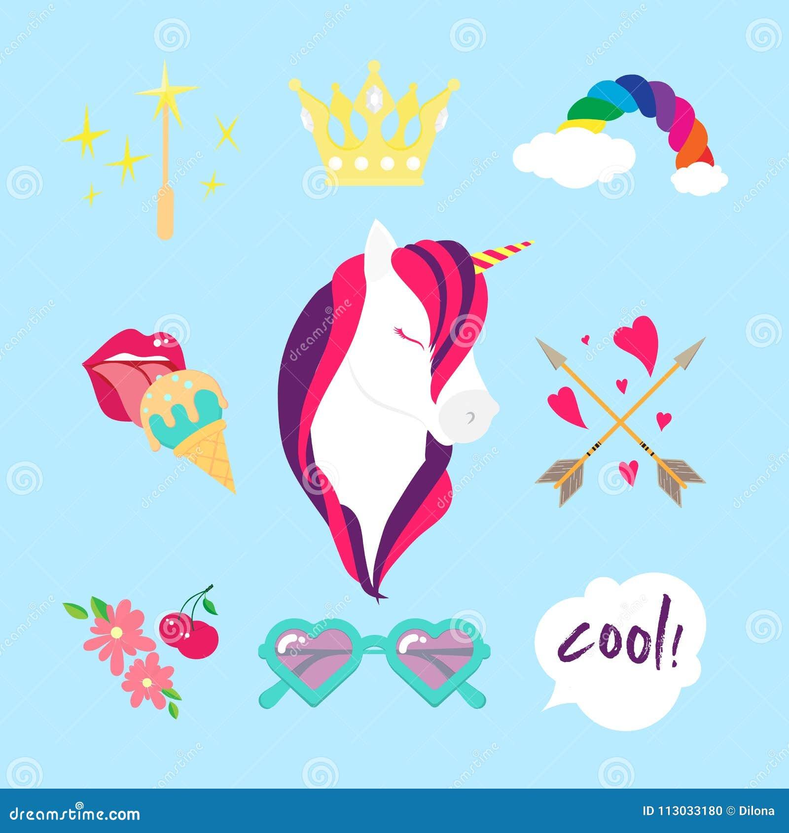 Icono plano del color del vector del unicornio aislado El estilo fijó con las flechas del boho, los corazones, las flores, los la