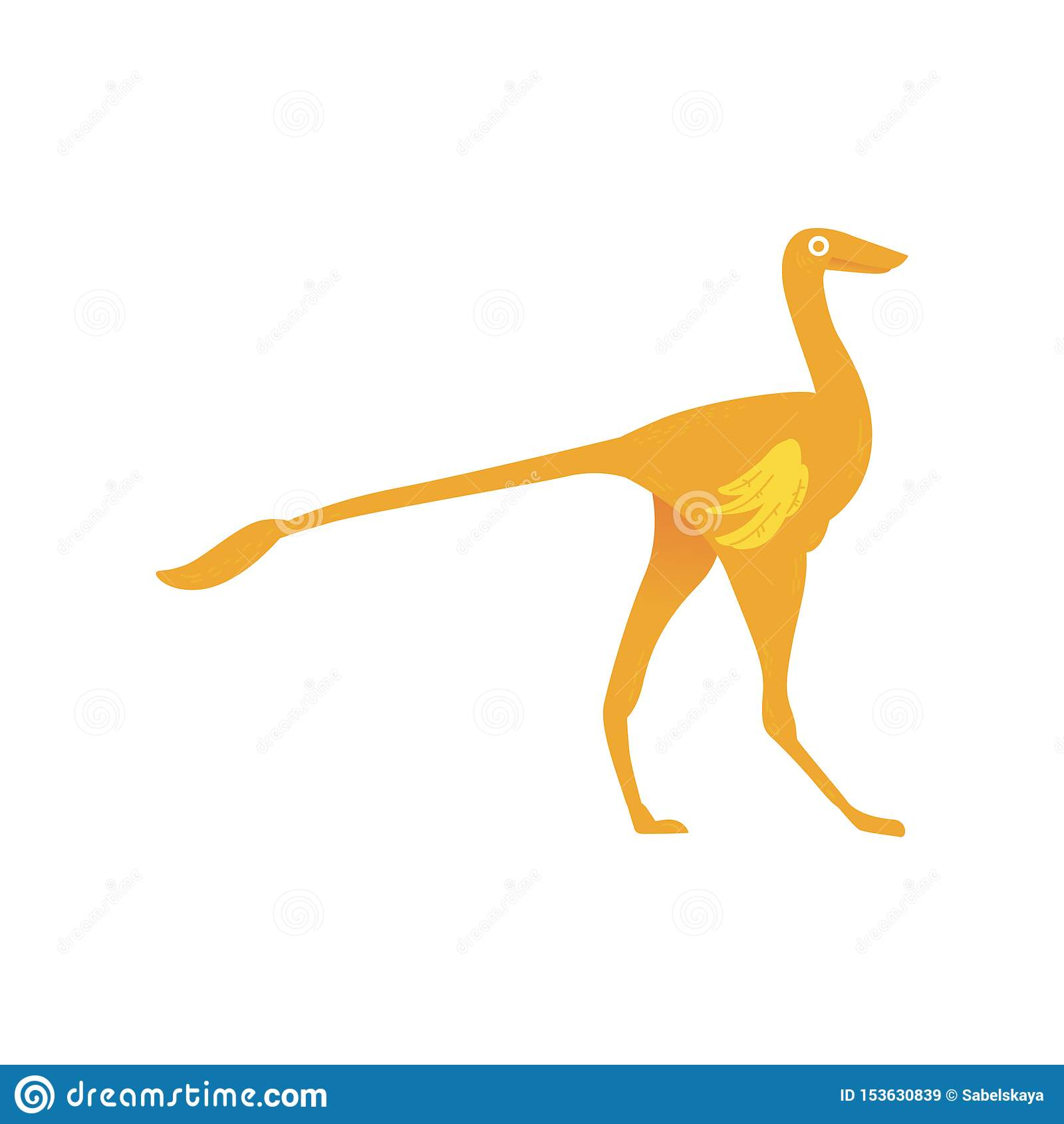 Icono plano a del depredador del dinosaurio del ornitomimus del vector