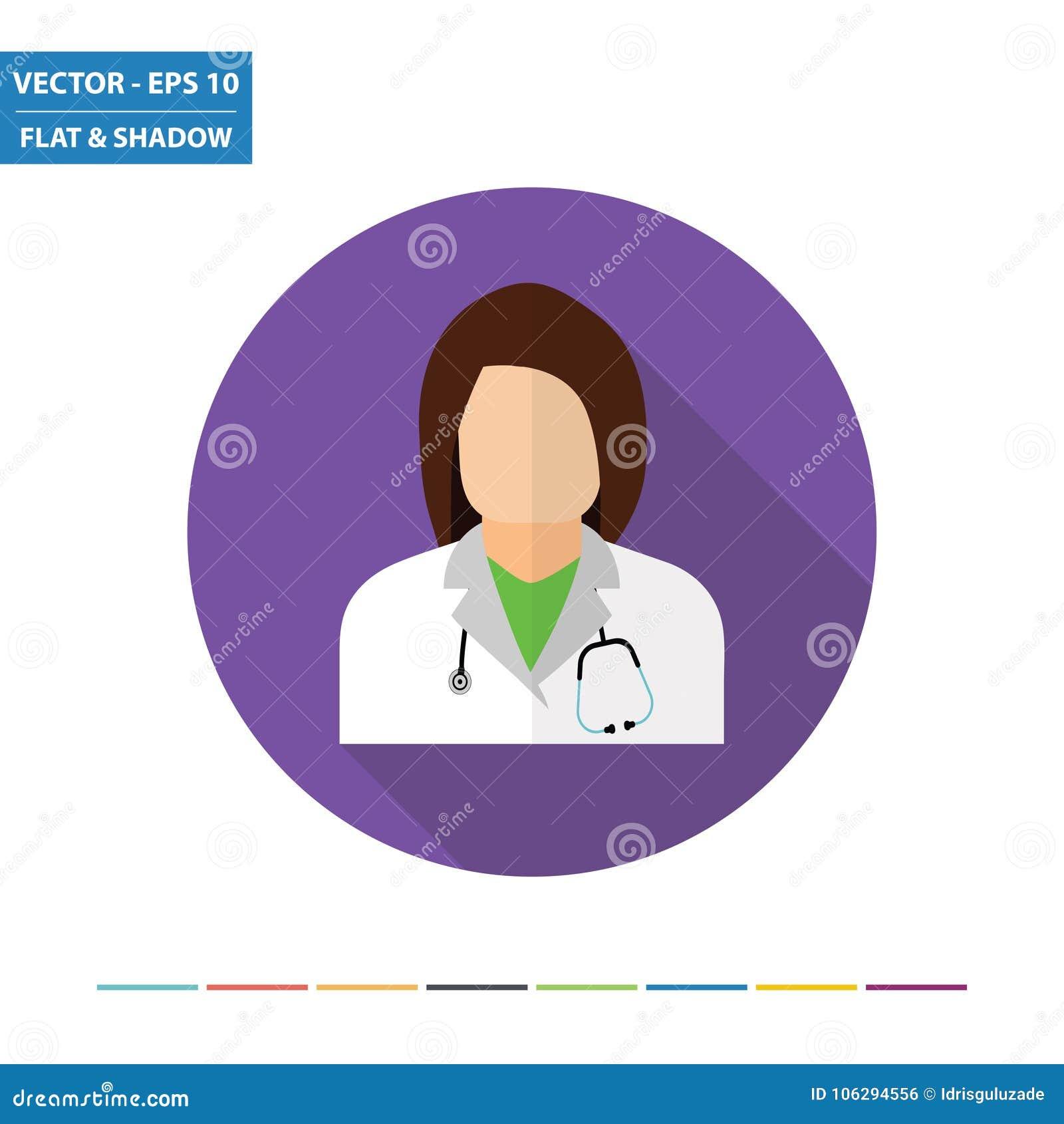 Icono plano del doctor de sexo femenino