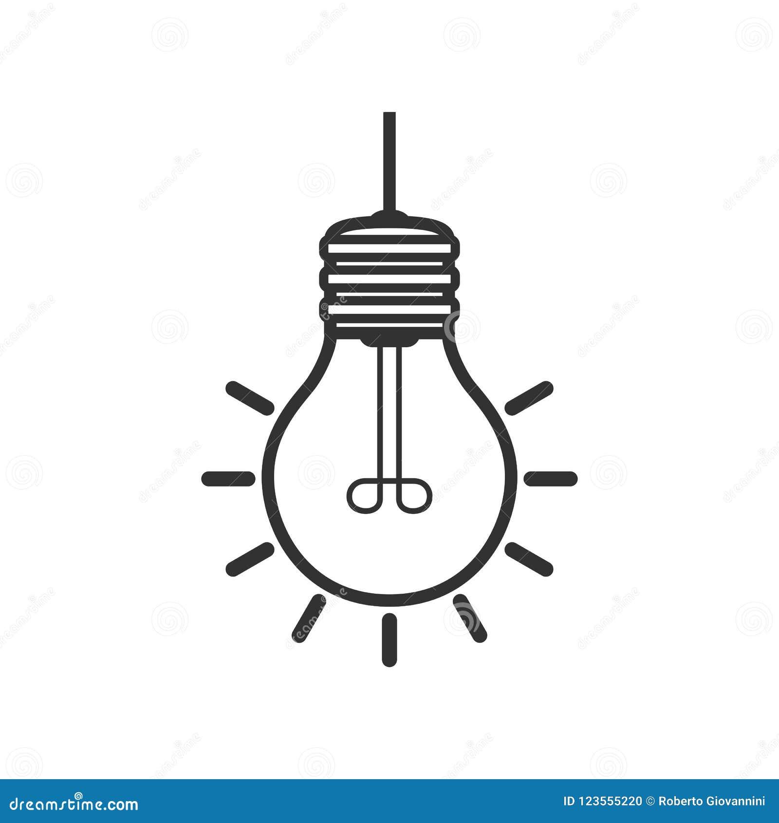 Icono plano del esquema brillante de la bombilla en blanco