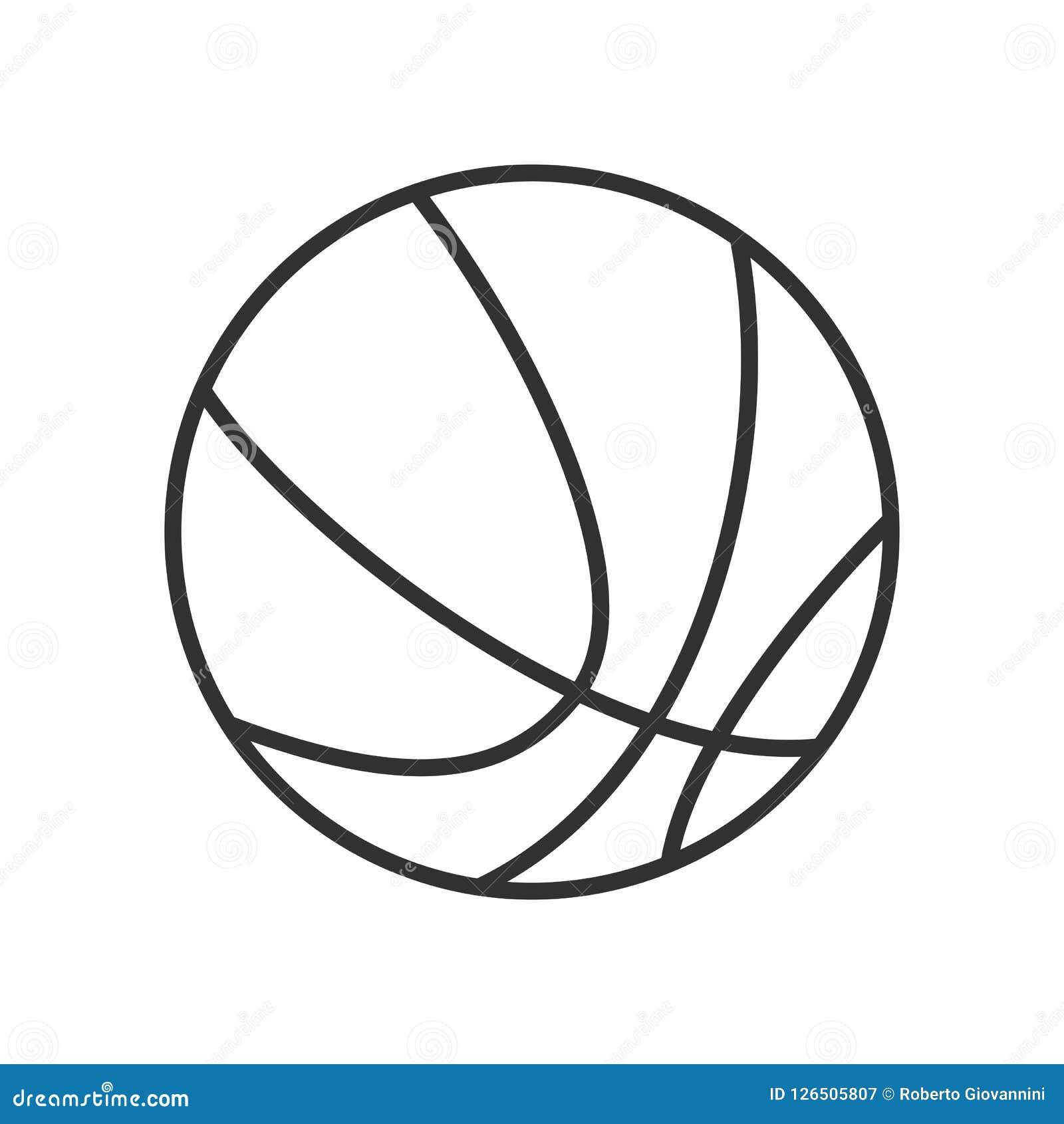 Icono plano del esquema de la bola del baloncesto en blanco