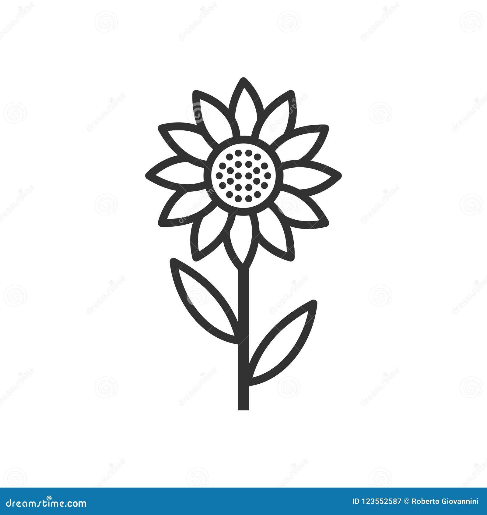 Icono plano del esquema del girasol en blanco