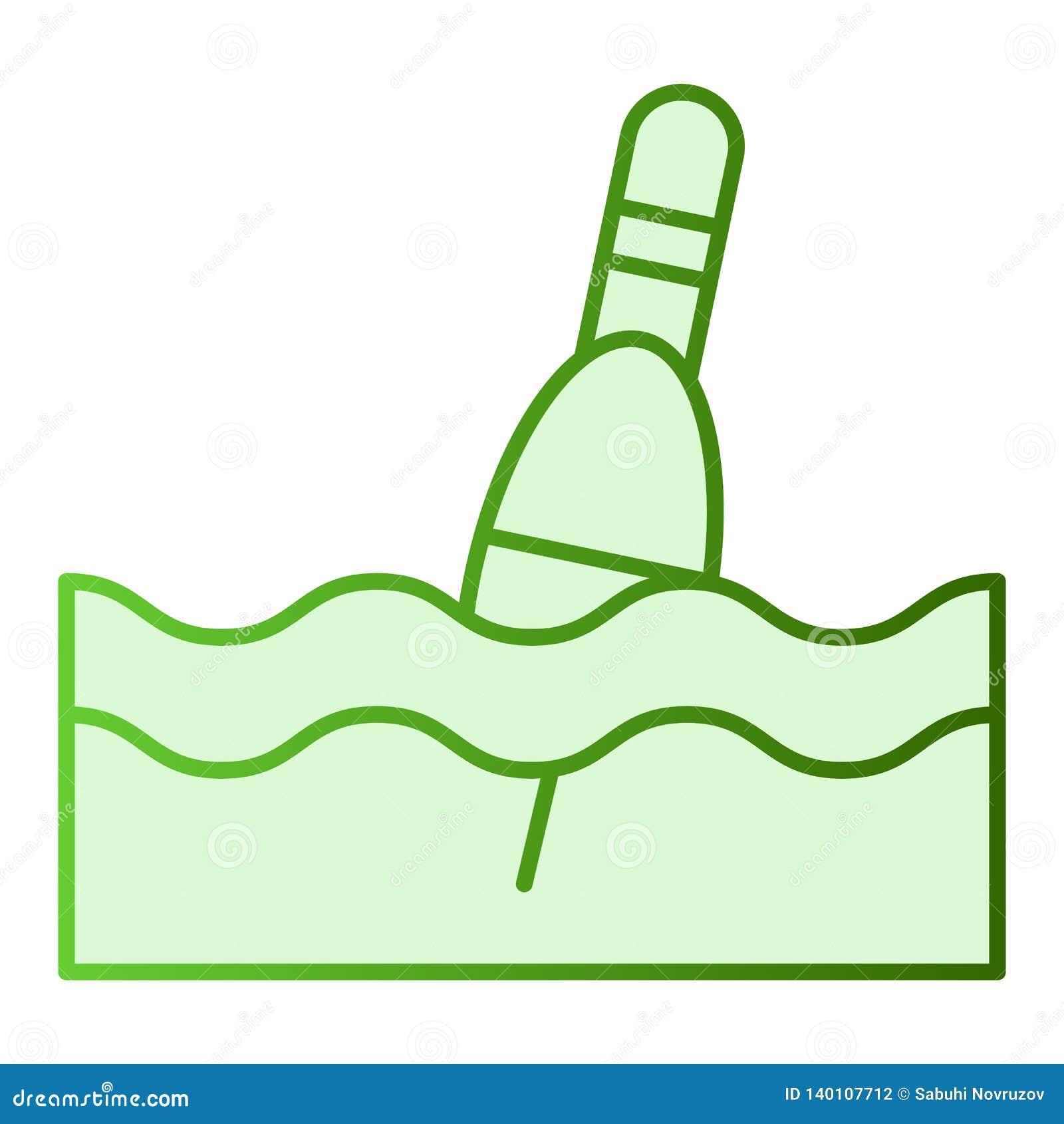Icono plano del flotador Iconos del verde del Bobber en estilo plano de moda Diseño del estilo de la pendiente que pesca con caña