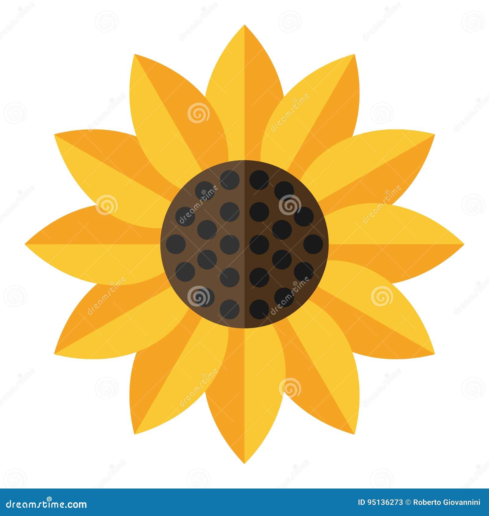 Icono plano del girasol amarillo aislado en blanco