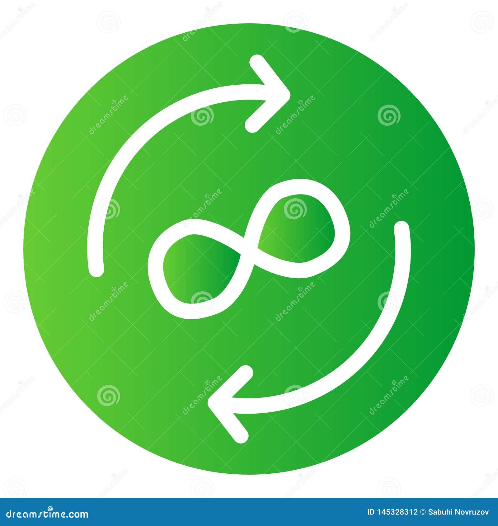 Icono plano del intercambio del infinito Las flechas del círculo colorean iconos en estilo plano de moda Flechas y estilo de la