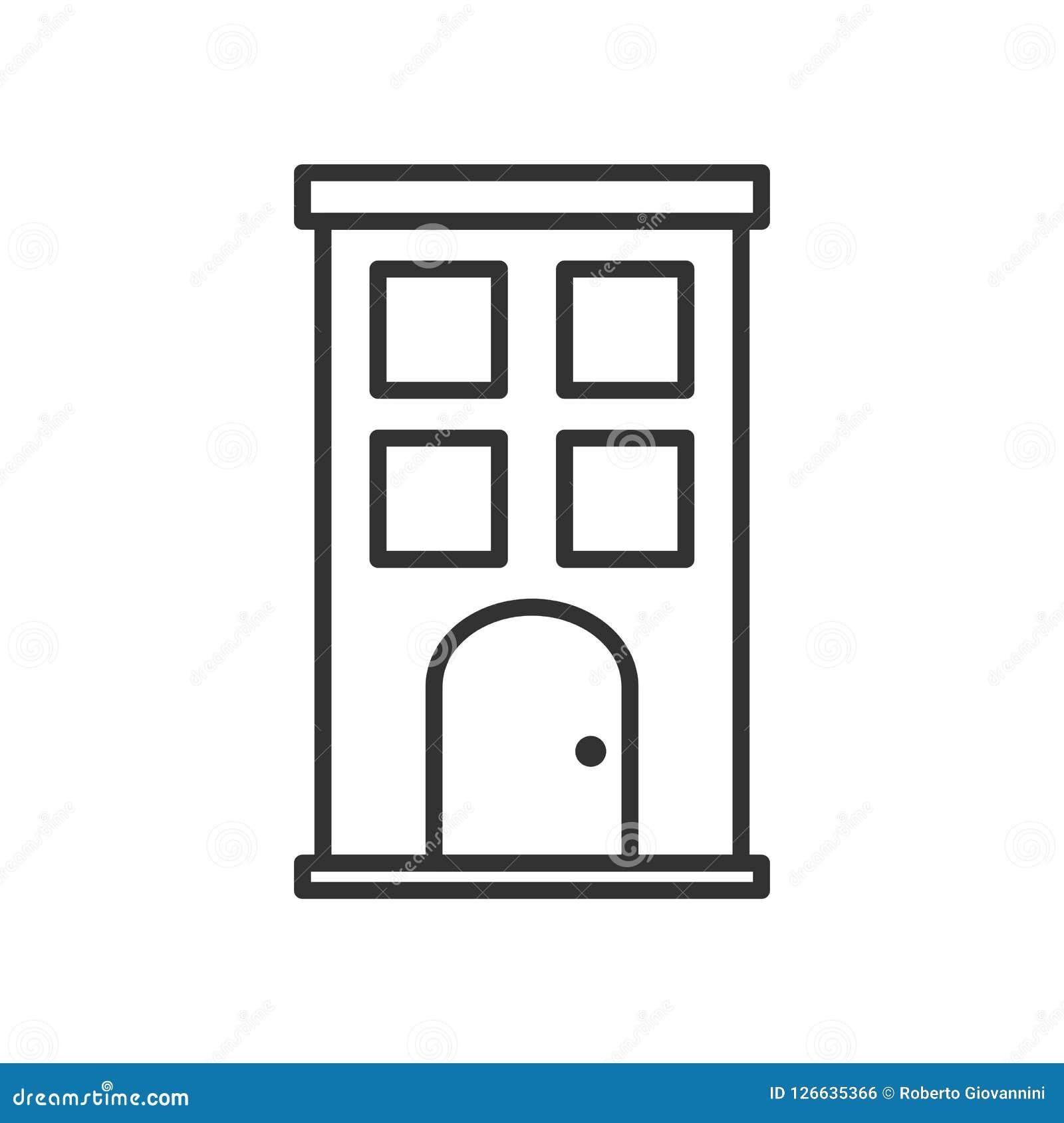 Icono plano del pequeño esquema del edificio en blanco
