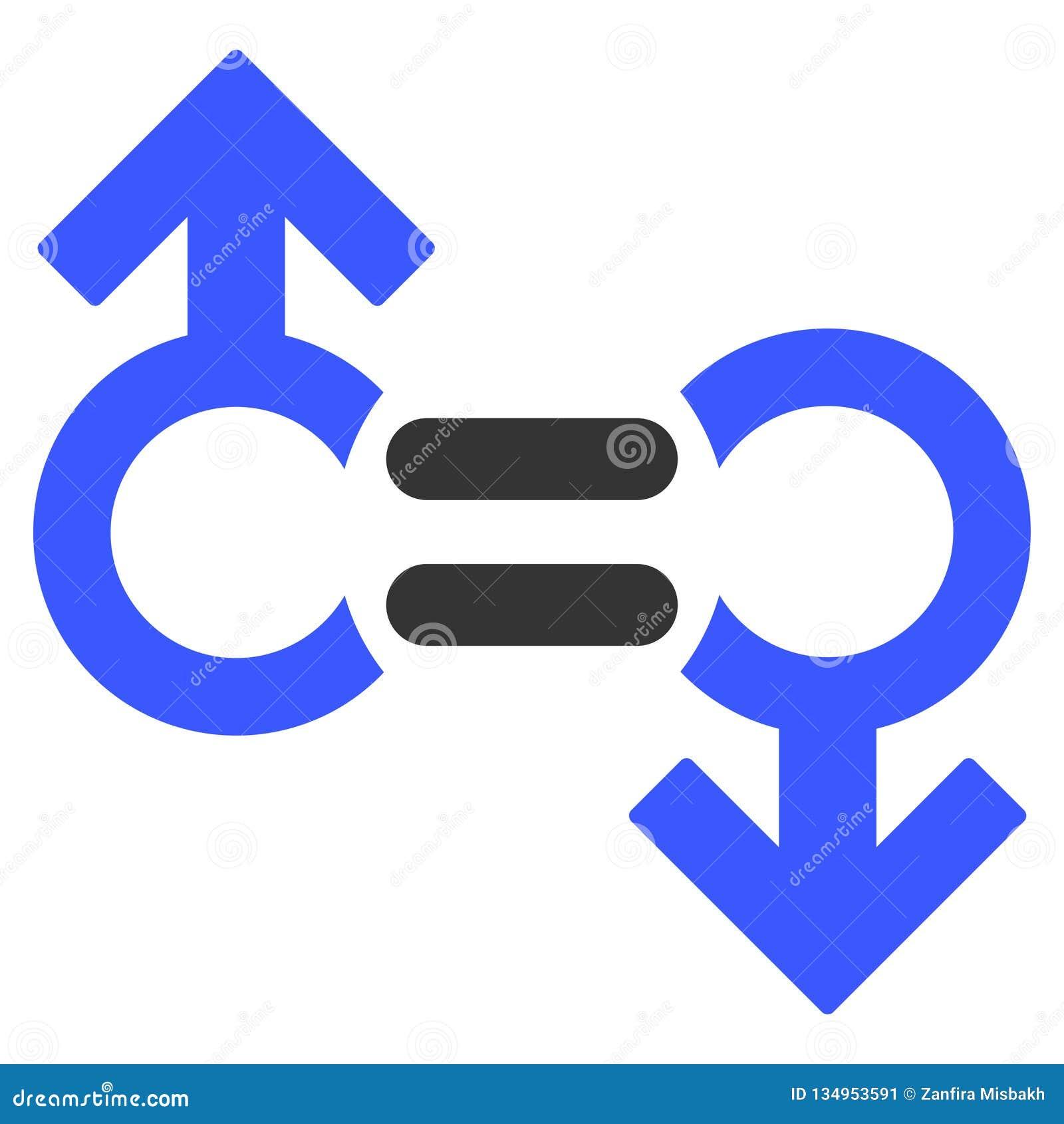 Icono plano del símbolo gay de la relación