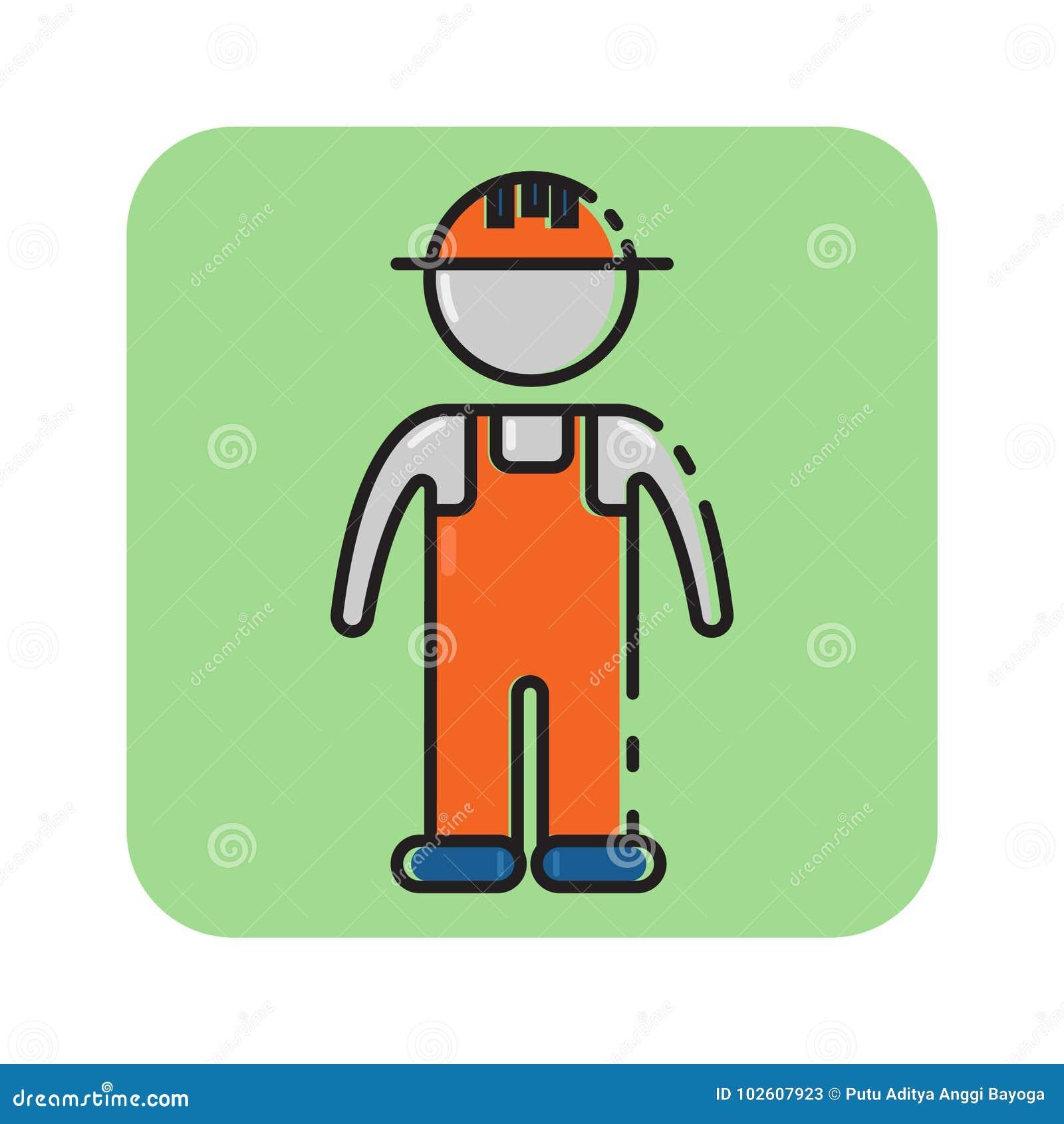 Icono Plano Del Trabajador De Construcción Del Color Ilustración del ...