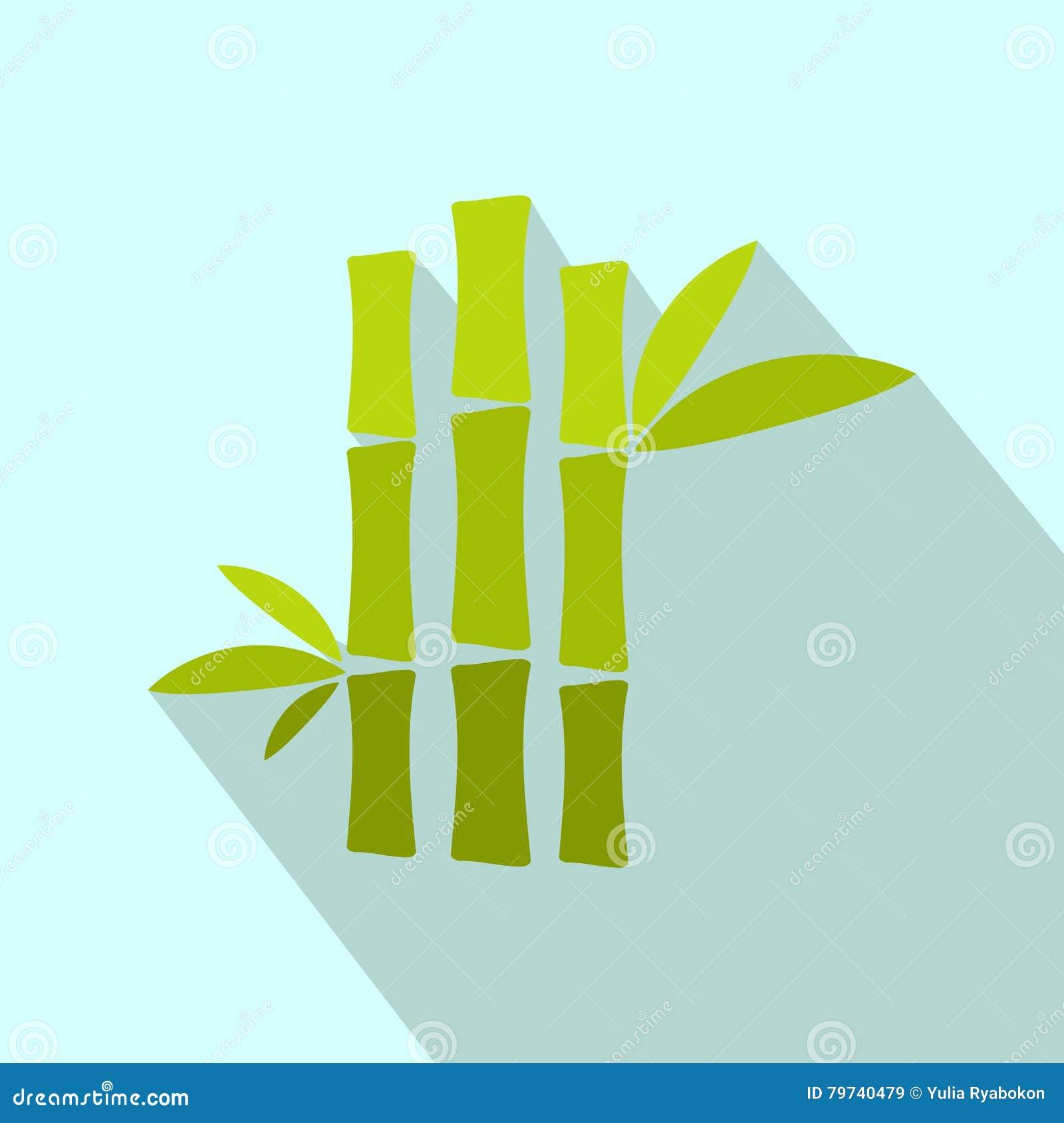 Icono plano del tronco de bambú verde