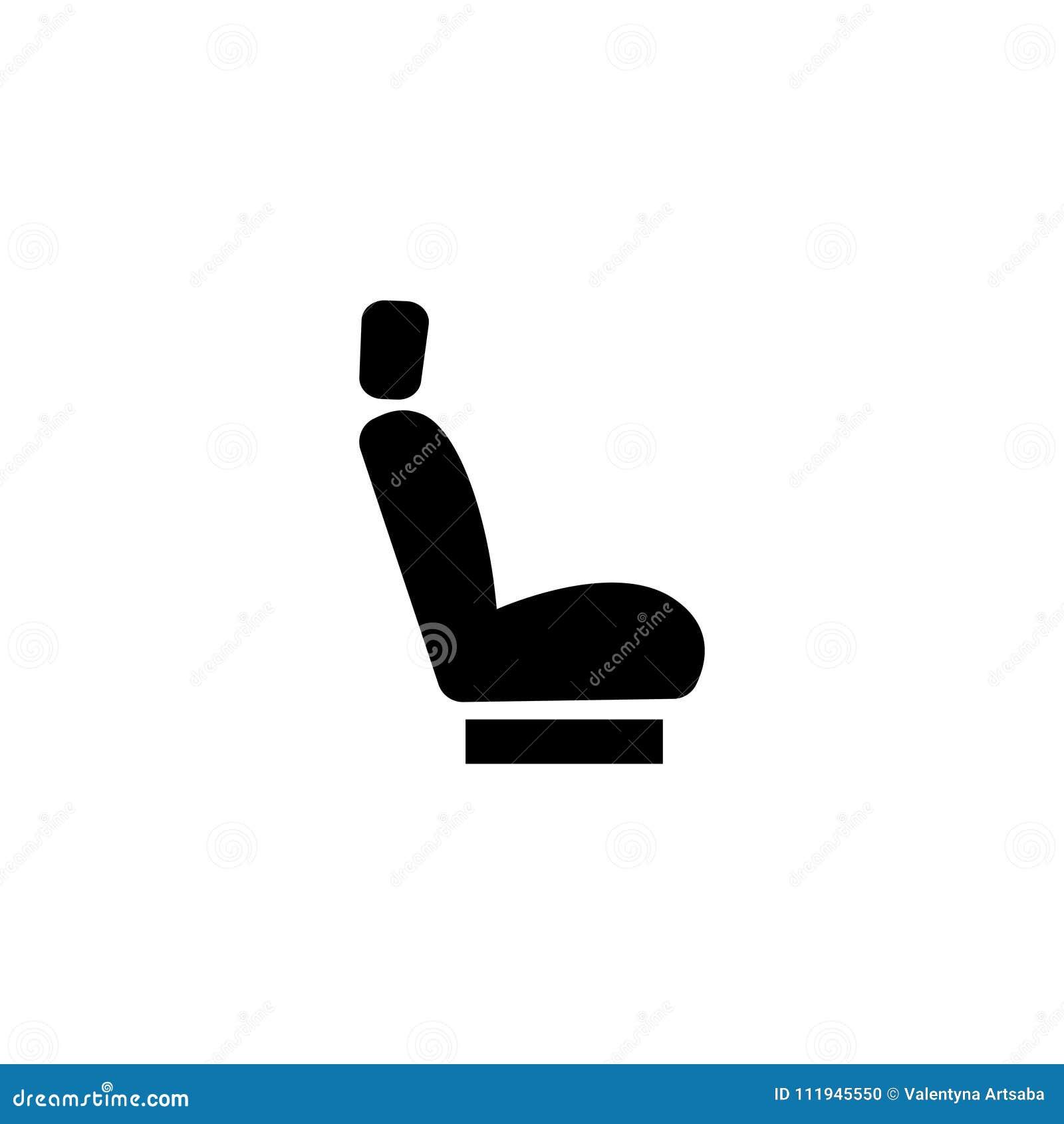 Icono plano del vector del asiento de carro