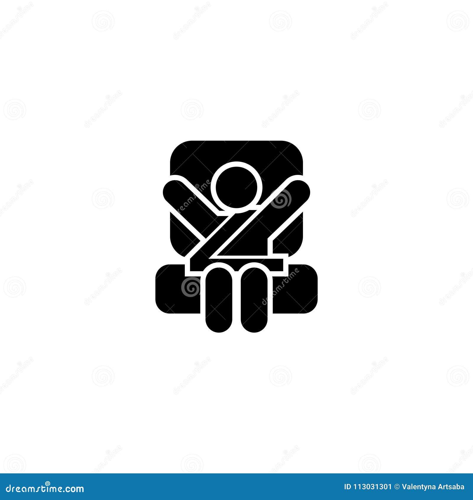 Icono plano del vector del asiento de carro del bebé